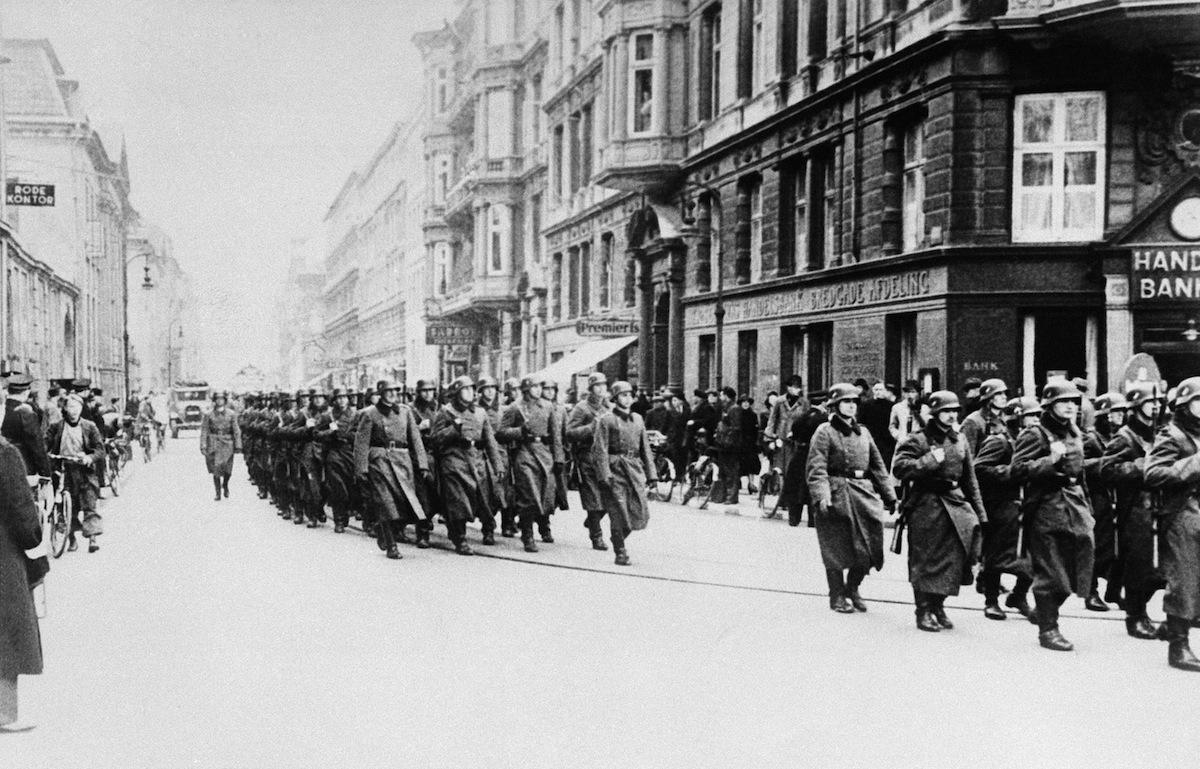 German troops parade in Copenhagen, Denmark on April 20, 1940, to celebrate Hitler's birthday.