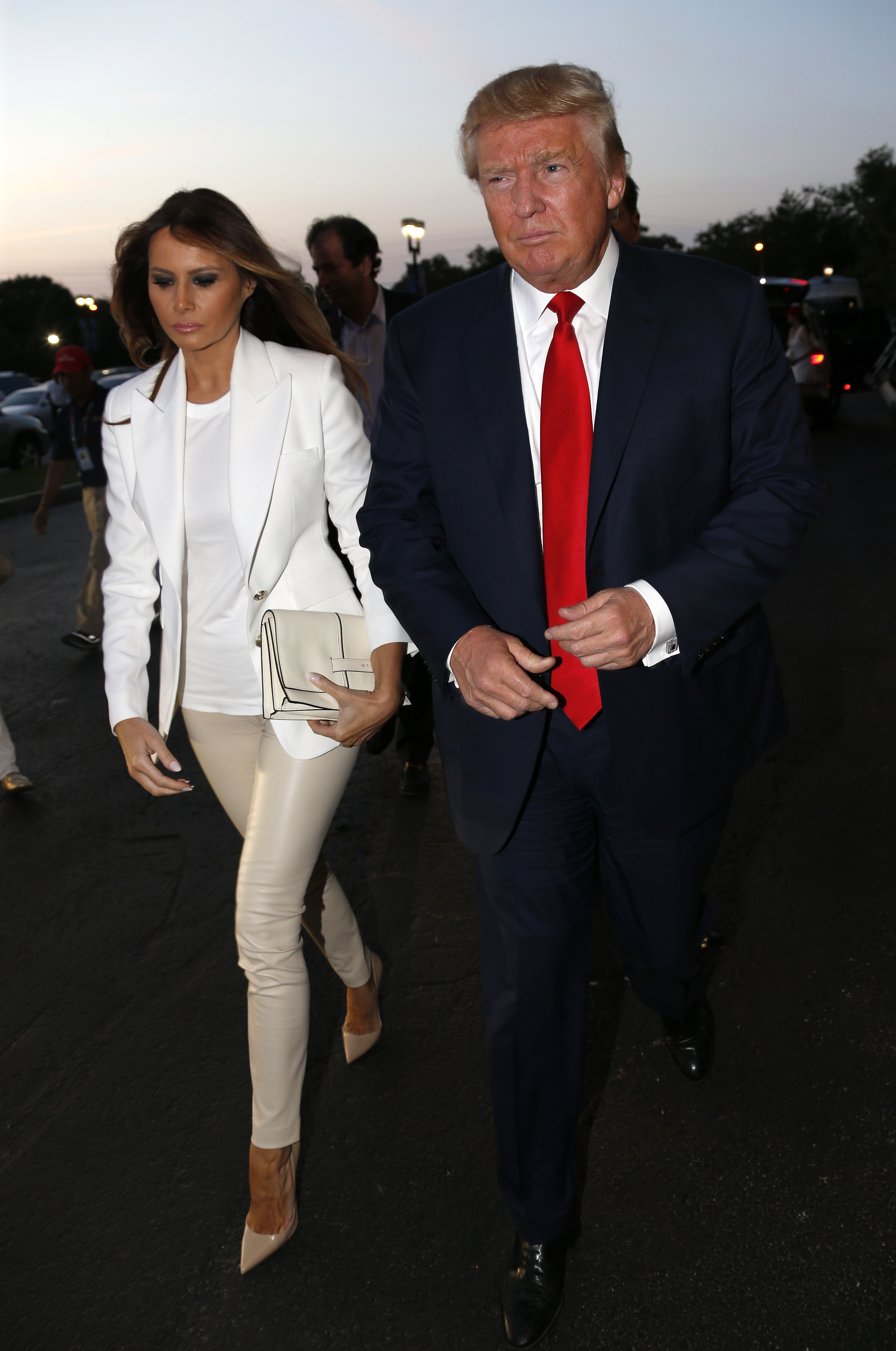 Donald Trump and his wife Melania Trump attend the Williams sisters match on day nine of the 2015 US Open at USTA Billie Jean King National Tennis Center on Sept. 8, 2015 in New York City.