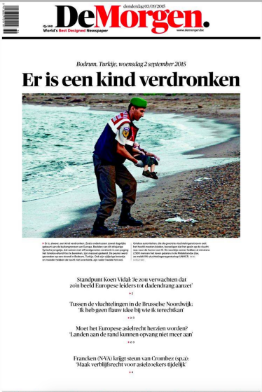 Drowned Migrant Boy De Morgen Front Page