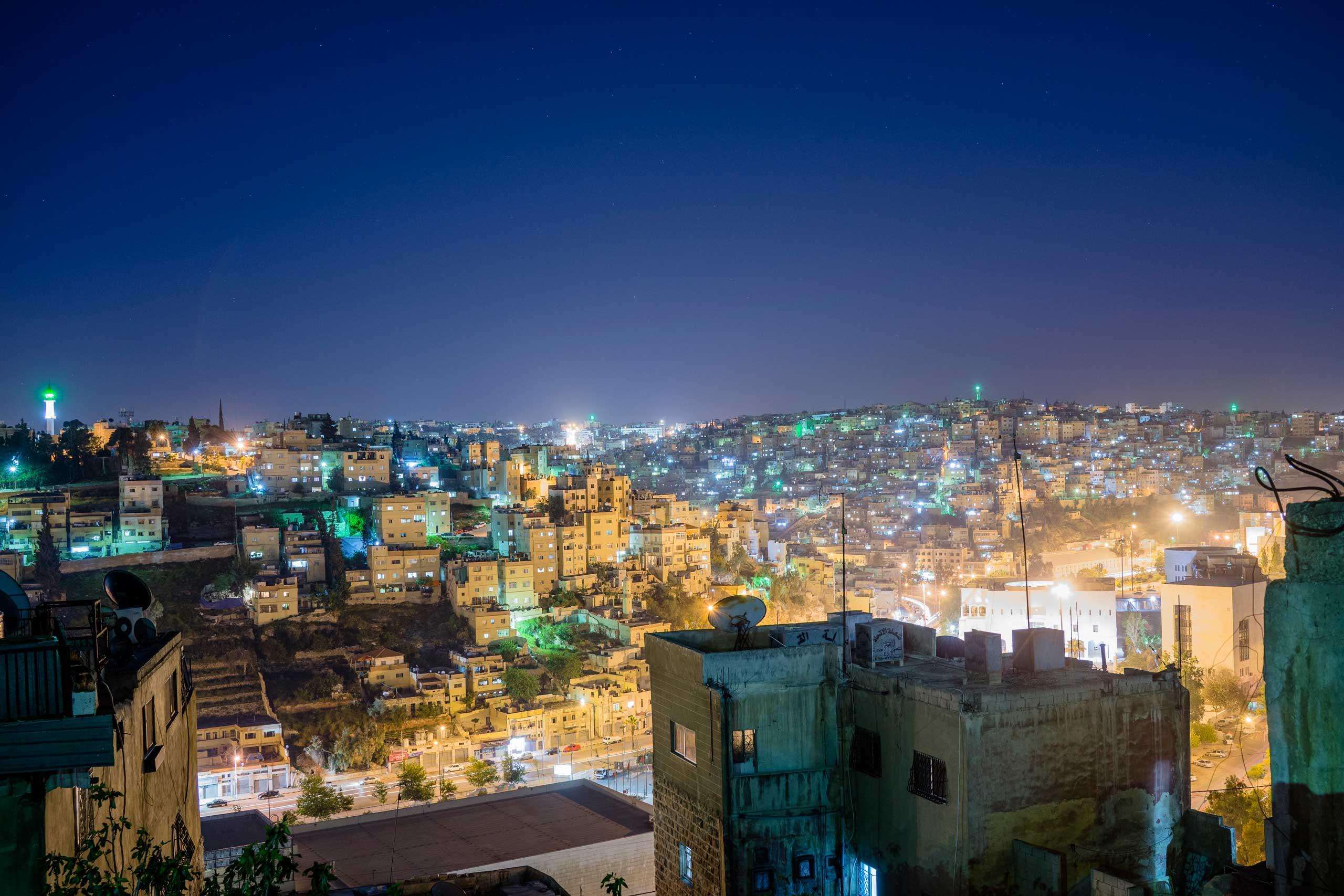 Amman, Jordan at night.