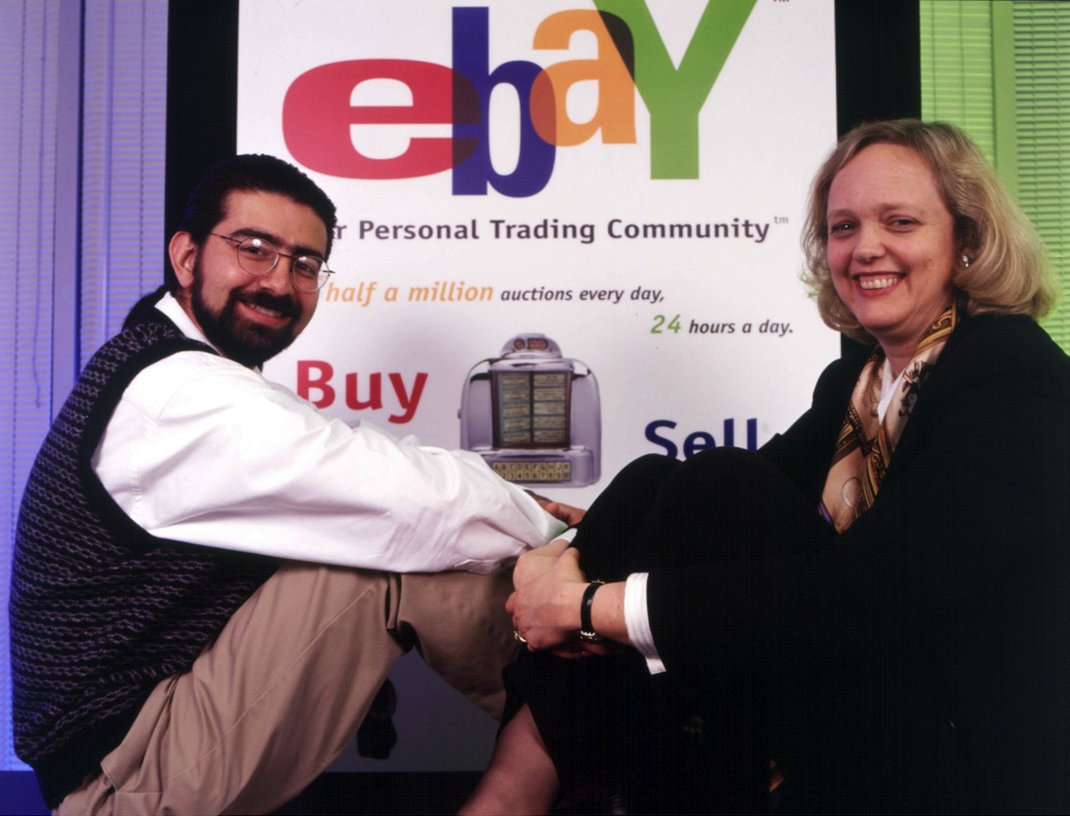 Chairman and founder Pierre Omidyar and CEO Meg Whitman of EBay.com, the online auction service, in California on June 15, 1998.