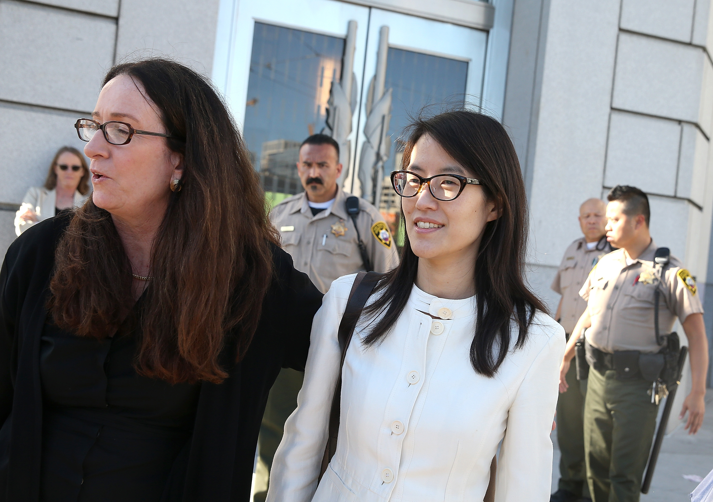Ellen Pao, right, leaves the San Francisco Superior Court Civic Center Courthouse with her attorney Therese Lawless in San Francisco on March 27, 2015