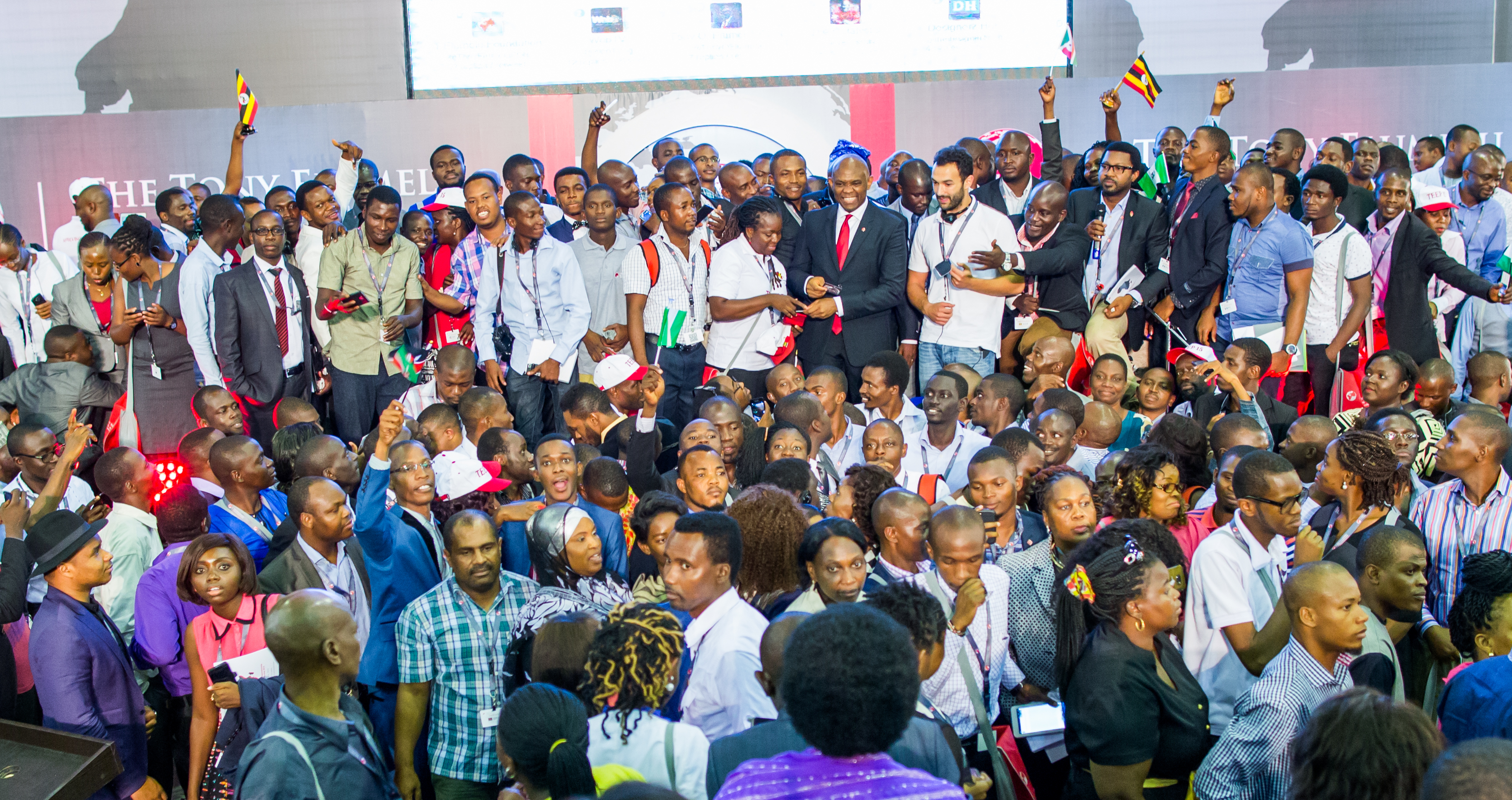 Tony O. Elumelu with the 1,000 entrepreneurs representing 51 African countries from the 2015 class of the $100 million Tony Elumelu Entrepreneurship Programme during the entrepreneurship boot camp in Ota, Nigeria in July.