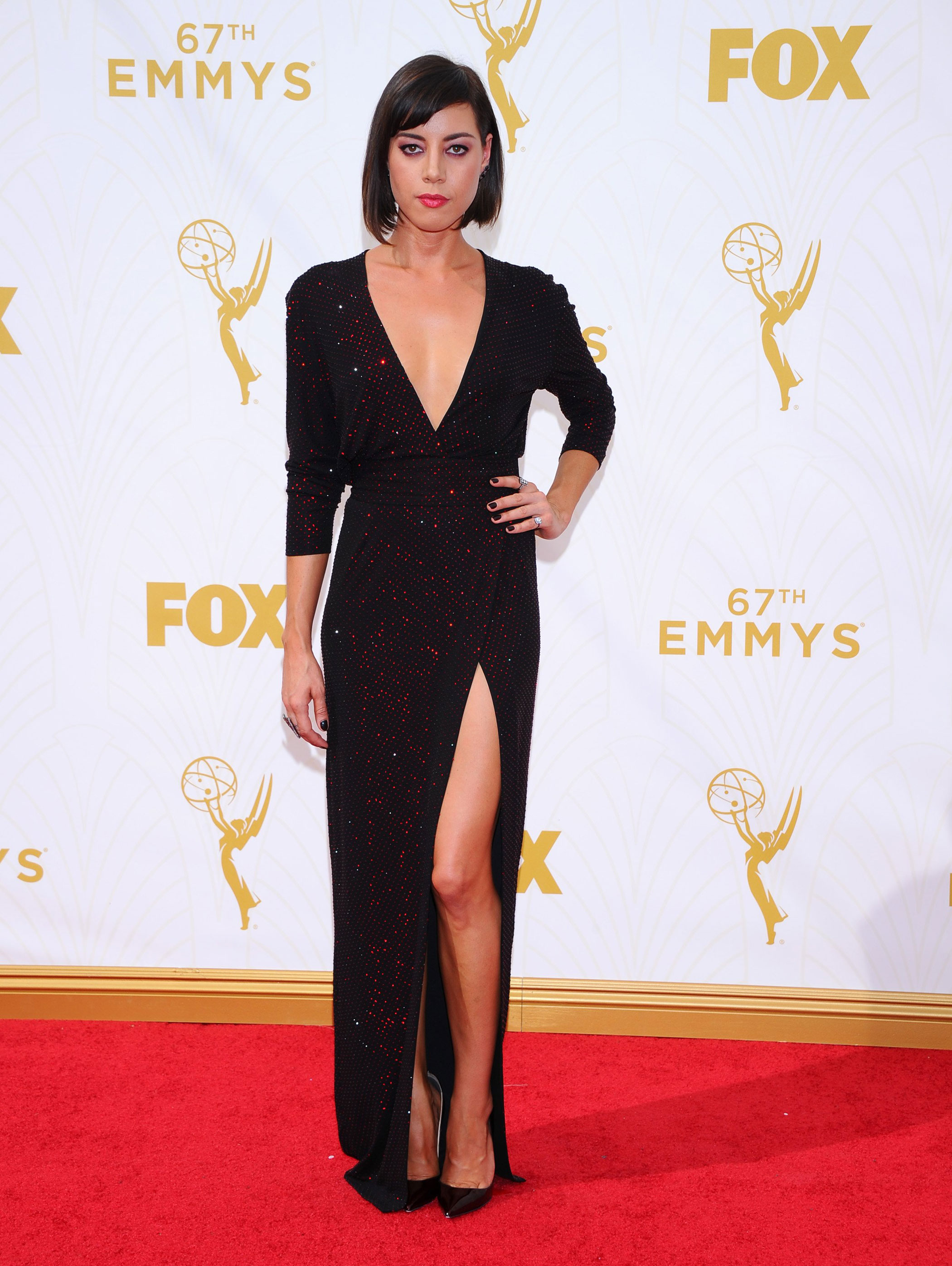 Aubrey Plaza at the 67th Emmy Award on Sept. 20, 2015 in Los Angeles.