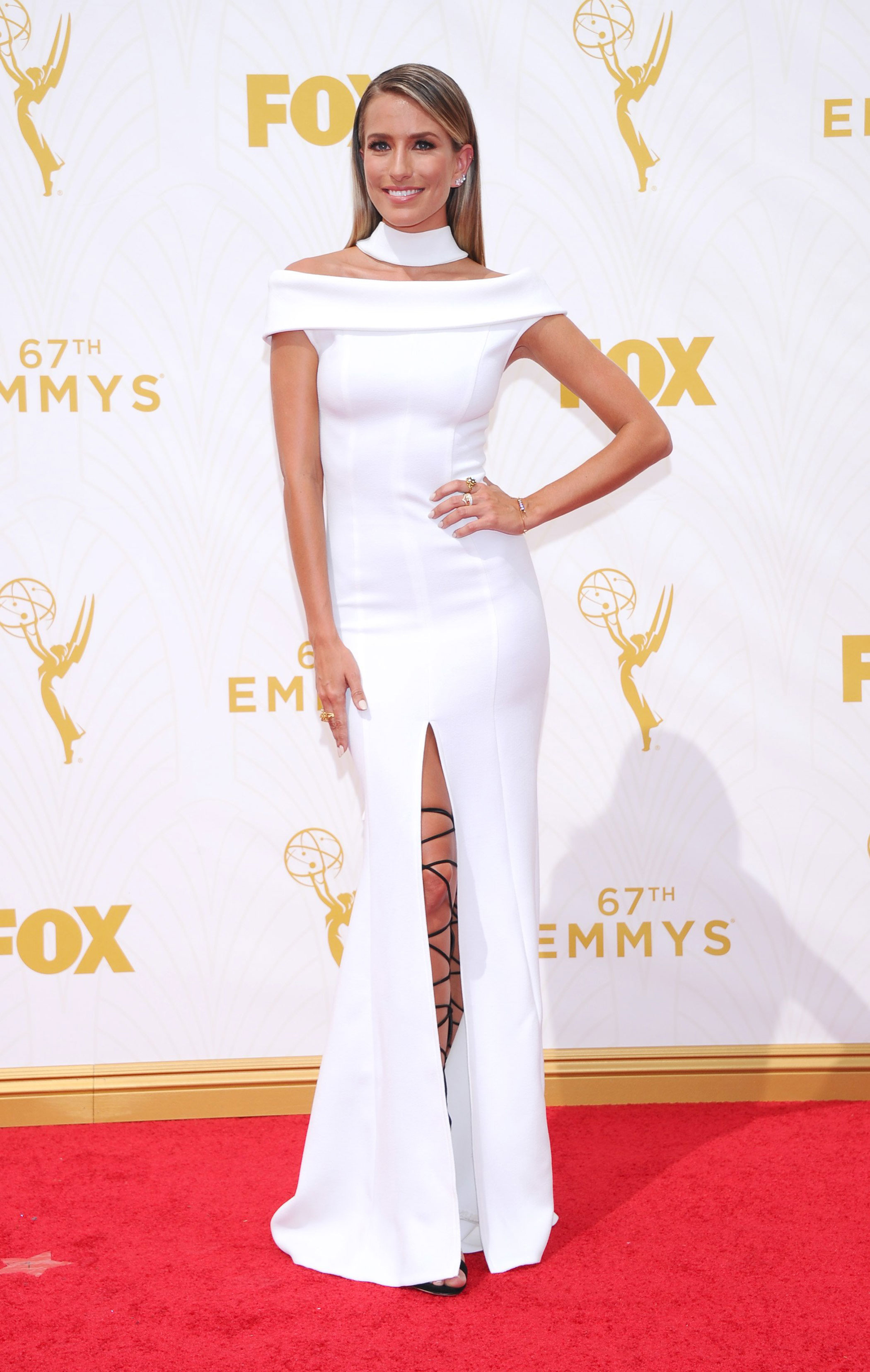 Renee Bargh at the 67th Emmy Award on Sept. 20, 2015 in Los Angeles.