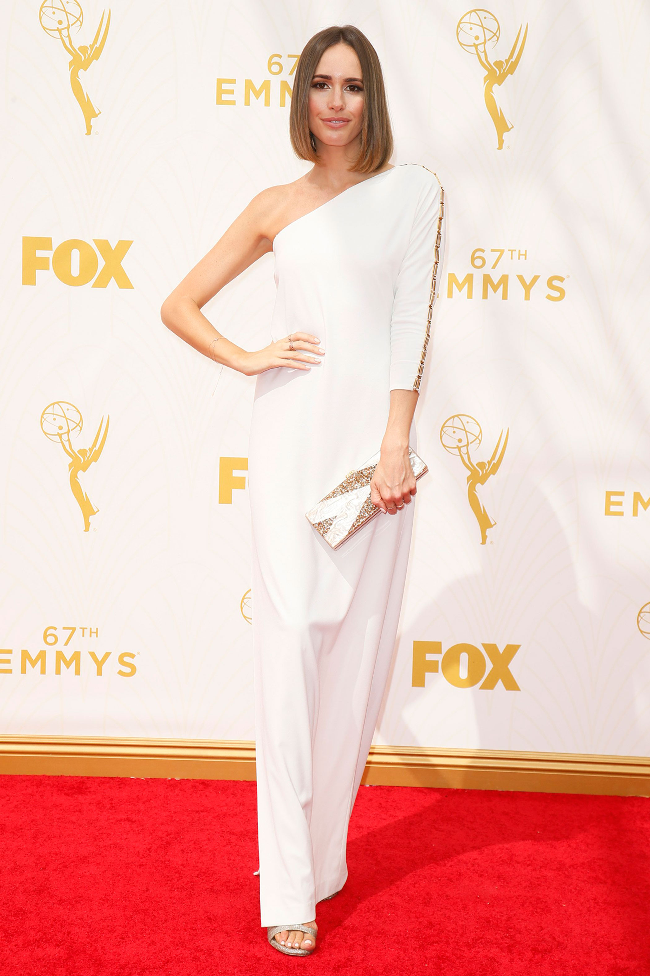 Louise Roe arrives at the 67th Primetime Emmy Awards on Sept. 20, 2015, at the Microsoft Theater in Los Angeles.