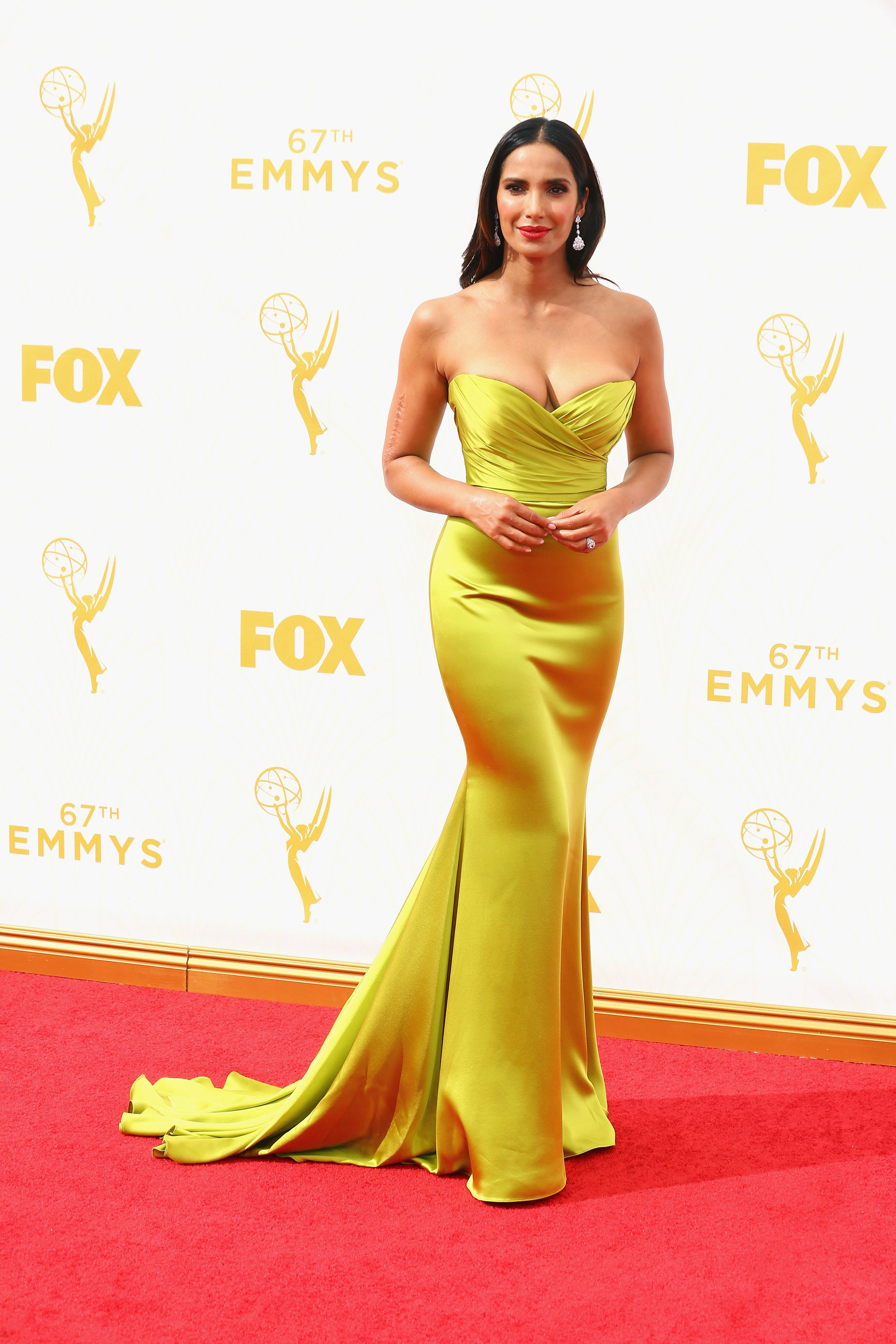 Padma Lakshmi at the 67th Emmy Award on Sept. 20, 2015 in Los Angeles.