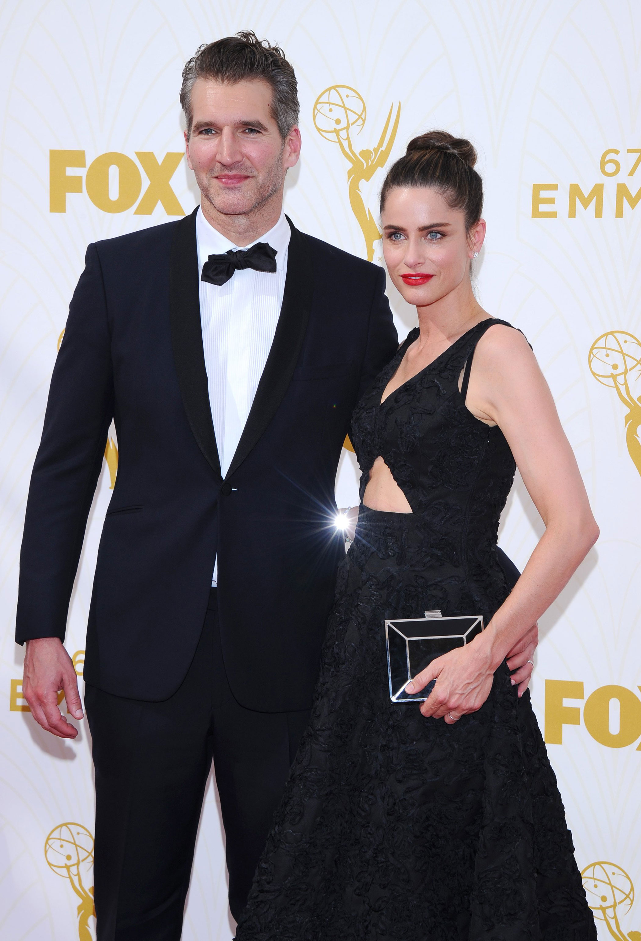 David Benioff and Amanda Peet at the 67th Emmy Award on Sept. 20, 2015 in Los Angeles.