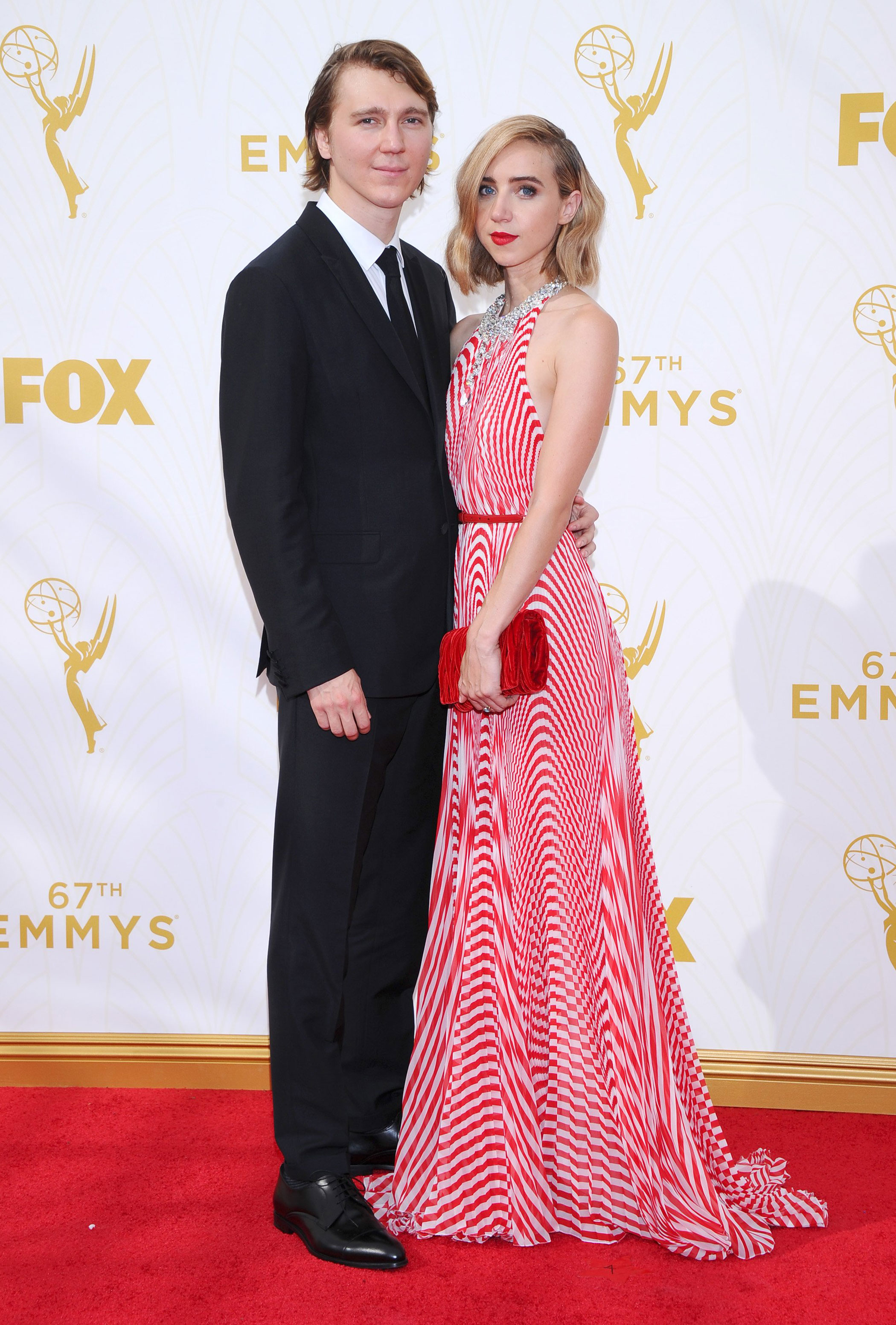 Paul Dano and Zoe Kazan at the 67th Emmy Award on Sept. 20, 2015 in Los Angeles.