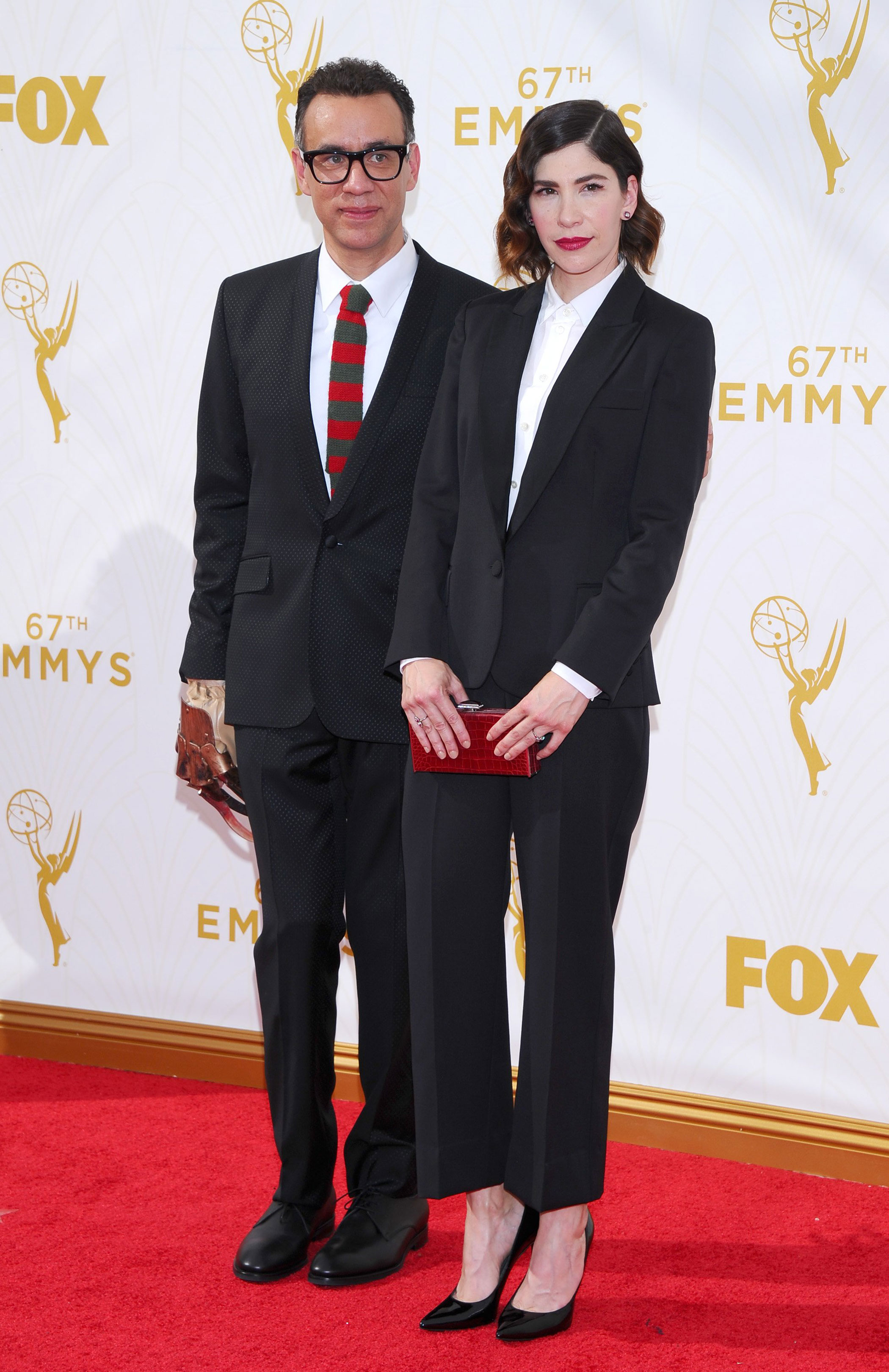 Fred Armisen and Carrie Brownstein at the 67th Emmy Award on Sept. 20, 2015 in Los Angeles.