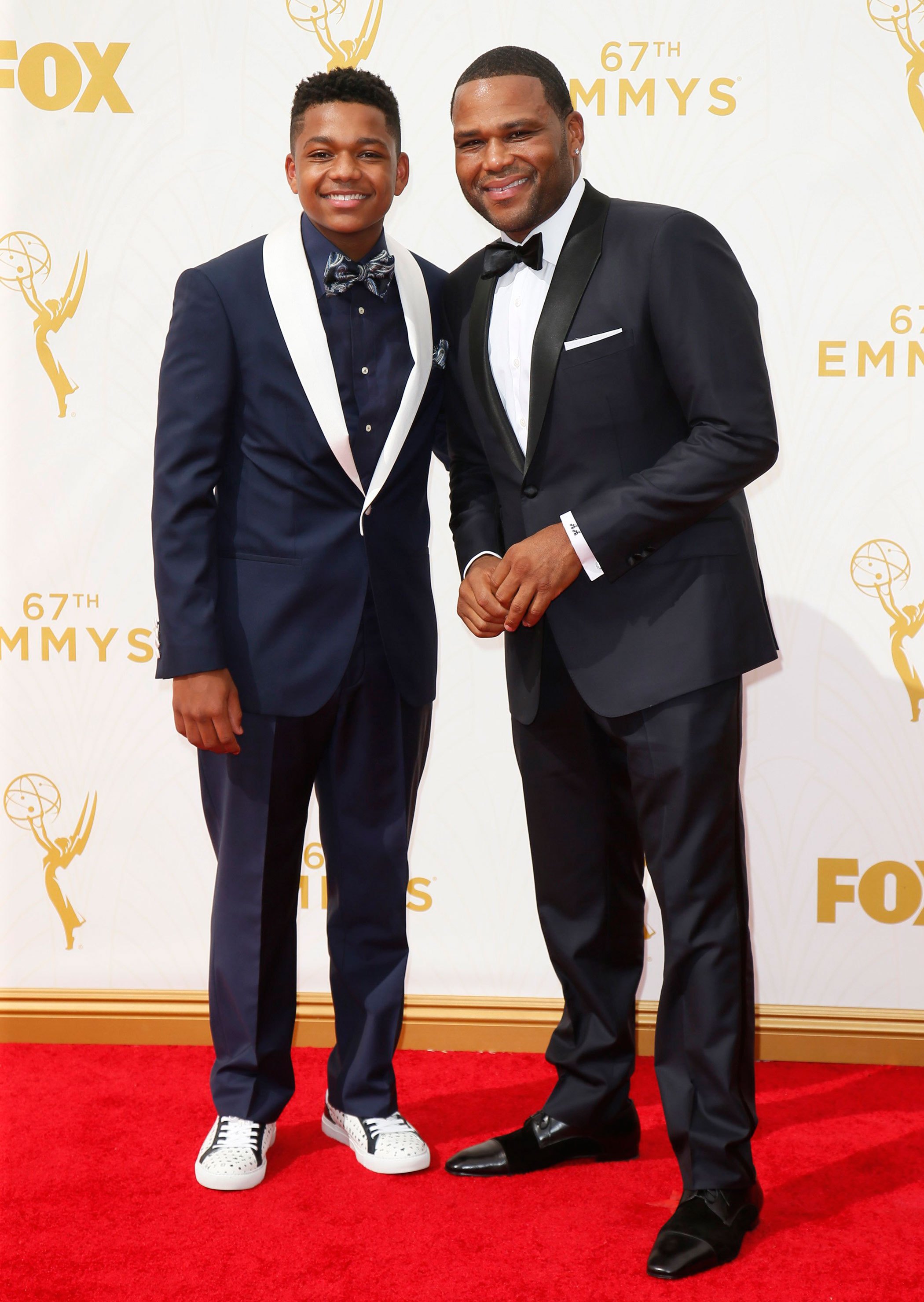 Nathan Anderson and Anthony Anderson at the 67th Emmy Award on Sept. 20, 2015 in Los Angeles.