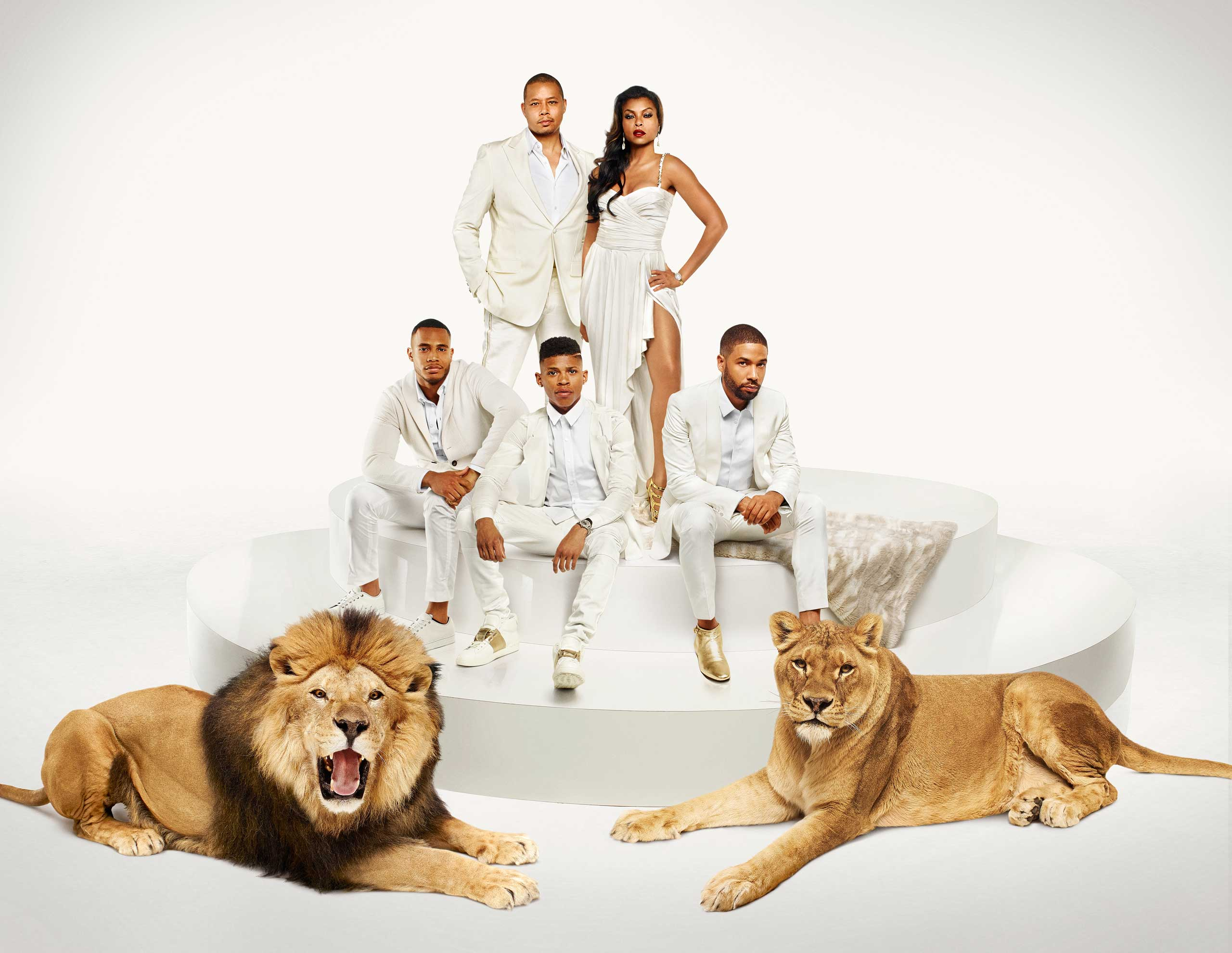 EMPIRE: Cast Pictured L-R: (Bottom Row) Trai Byers as Andre Lyon, Bryshere Gray as Hakeem Lyon and Jussie Smollett as Jamal Lyon (Top Row) Terrence Howard as Lucious Lyon and Taraji P. Henson as Cookie Lyon in EMPIRE.