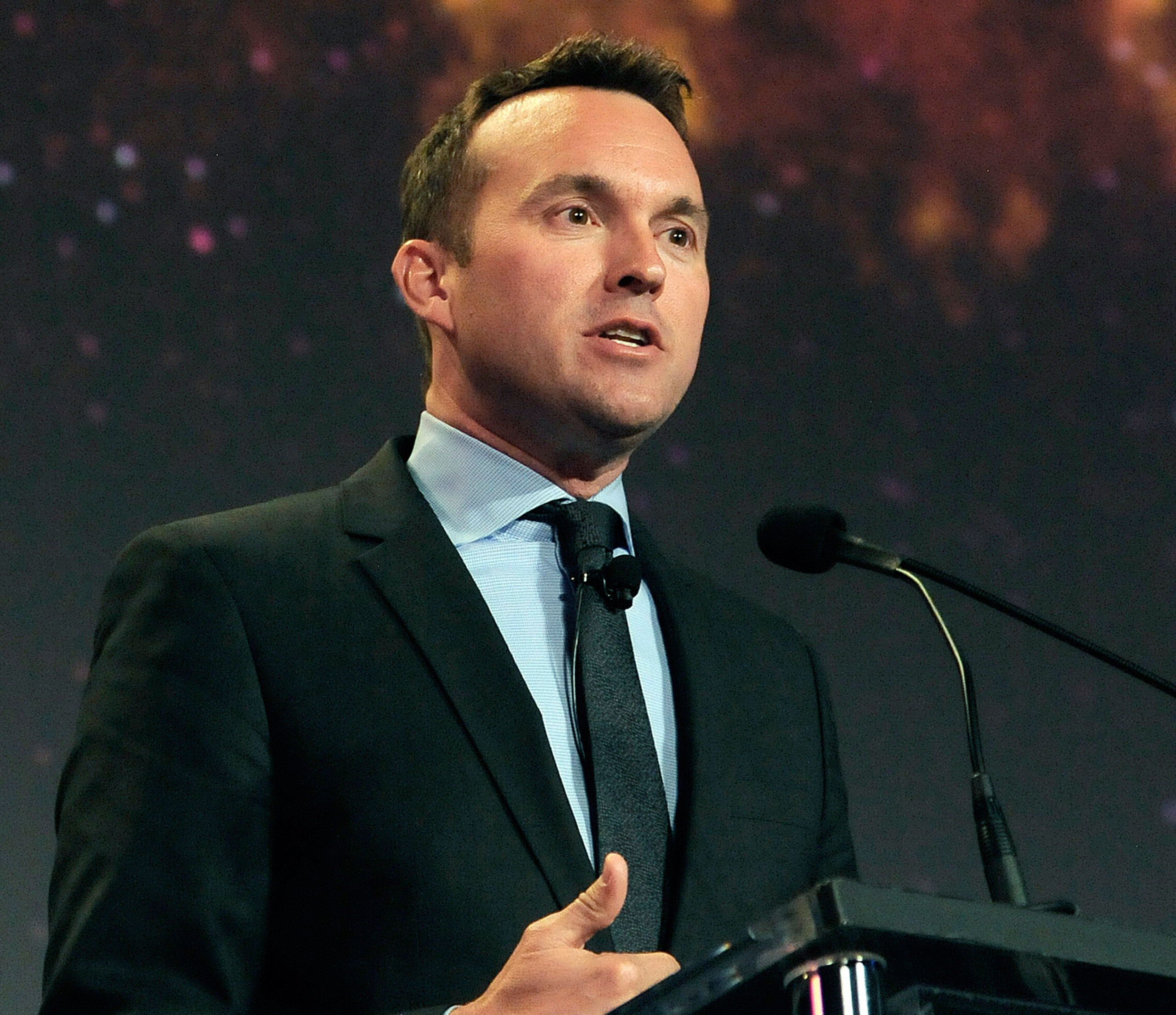 This photo provided by the U.S. Air Force shows Eric Fanning speaking at the 30th Space Symposium Corporate Partnership dinner in Colorado Springs, Colo., on May 20, 2014.