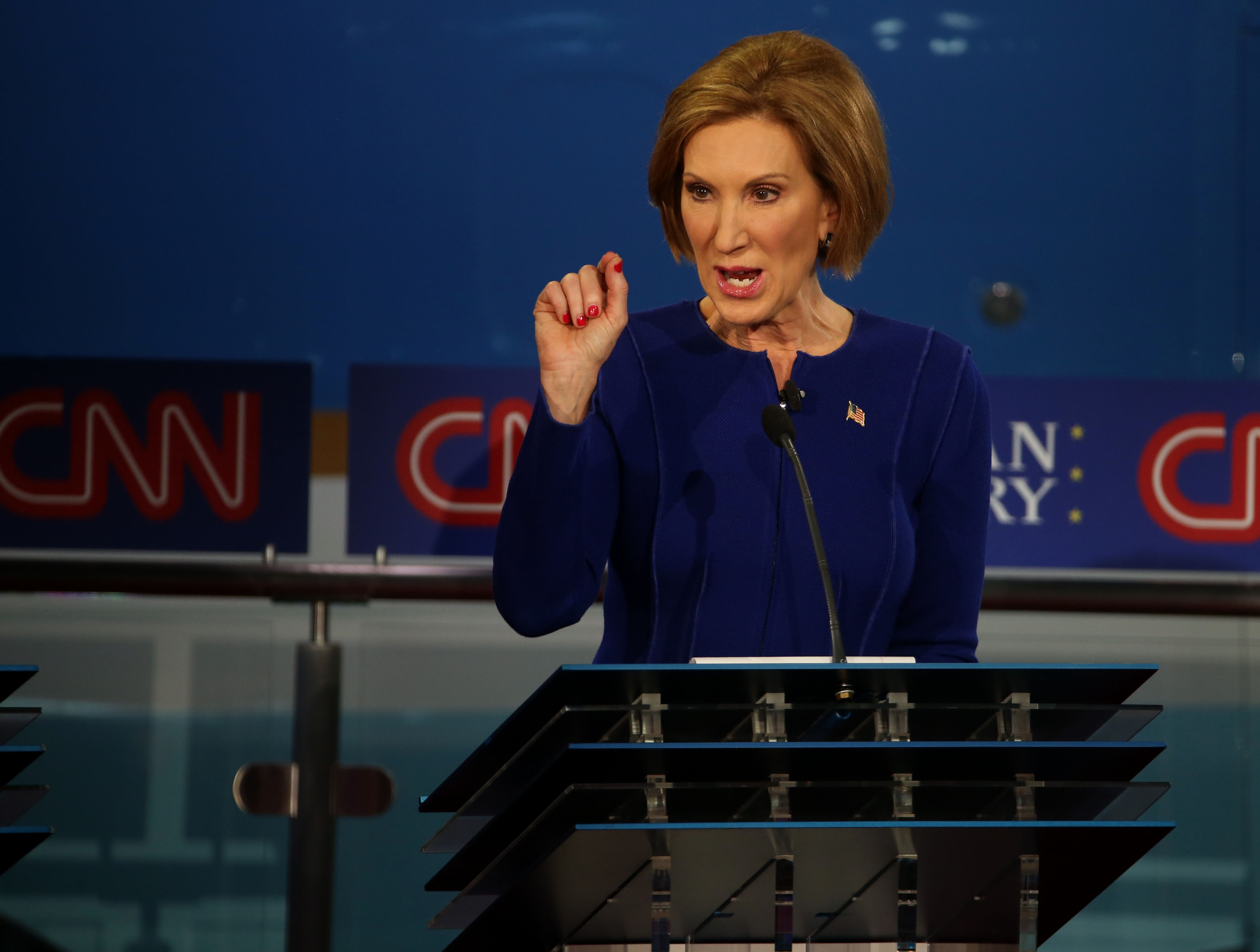 Republican presidential candidate  Carly Fiorina takes part in the presidential debates at the Reagan Library in Simi Valley, California on Sept. 16, 2015.