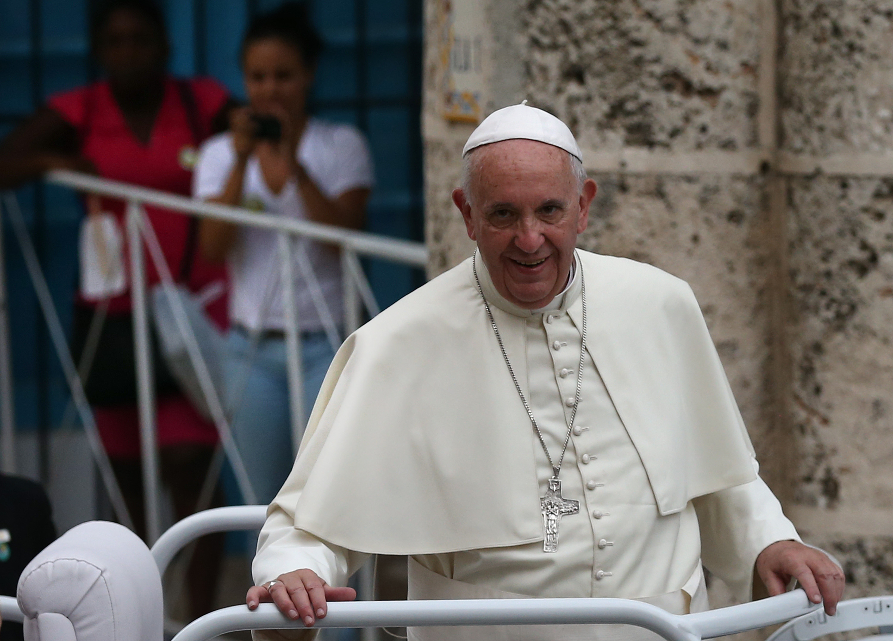 Pope Francis looks out from his Popemobile as he arrives at Havana Cathedral in Havana, Cuba on Sept. 20, 2015.