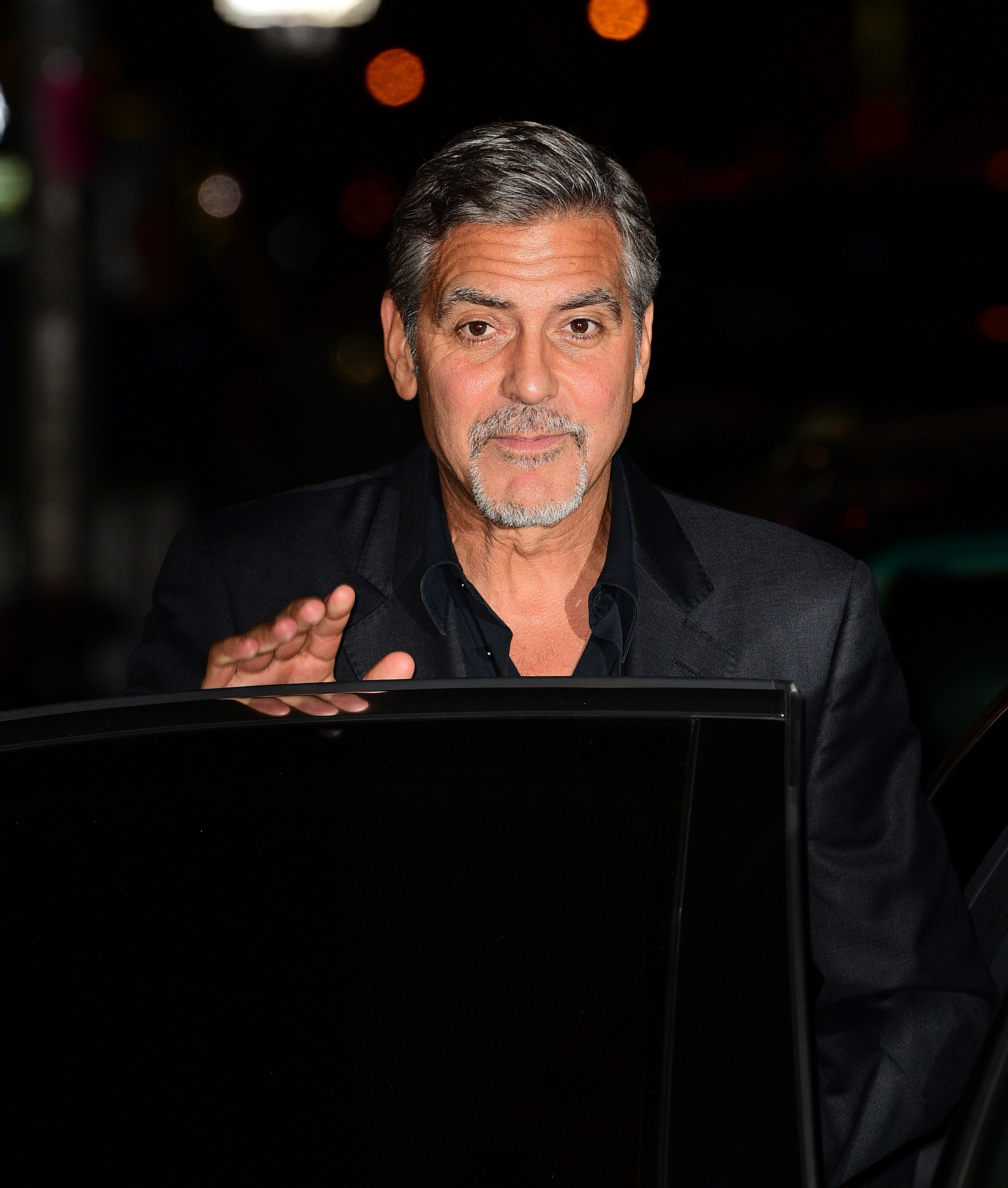 George Clooney leaves the first taping of  The Late Show With Stephen Colbert  at Ed Sullivan Theater on September 8, 2015 in New York City.