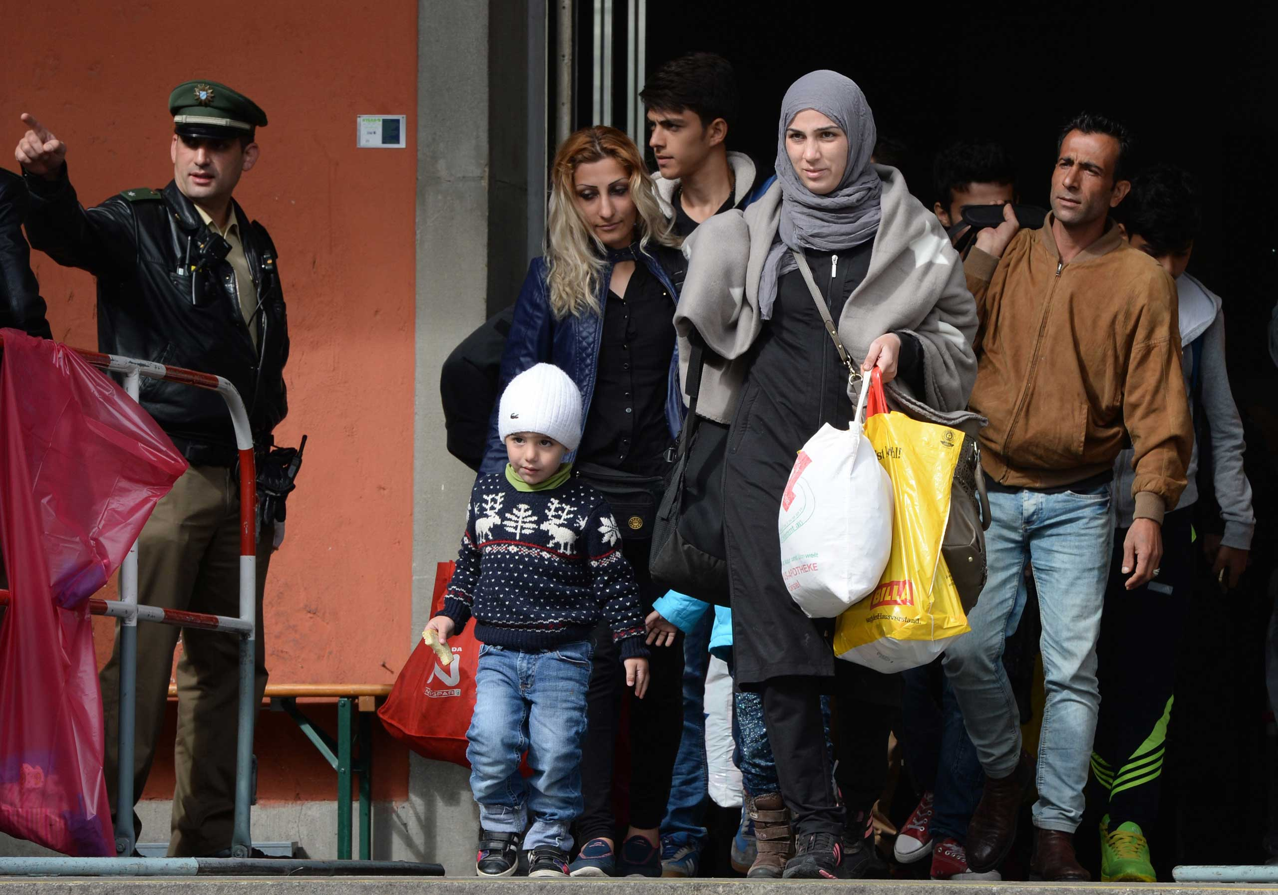 Refugee's arrive in front of the main train station in Munich, southern Germany, September 7, 2015.