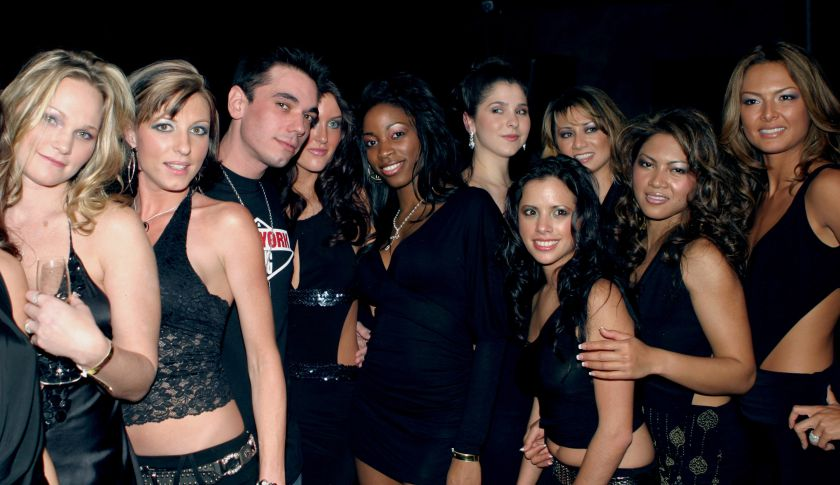 DJ AM (center) and the Borgata Babes during DJ AM Performs Live at the Borgata in Atlantic City, N.J.