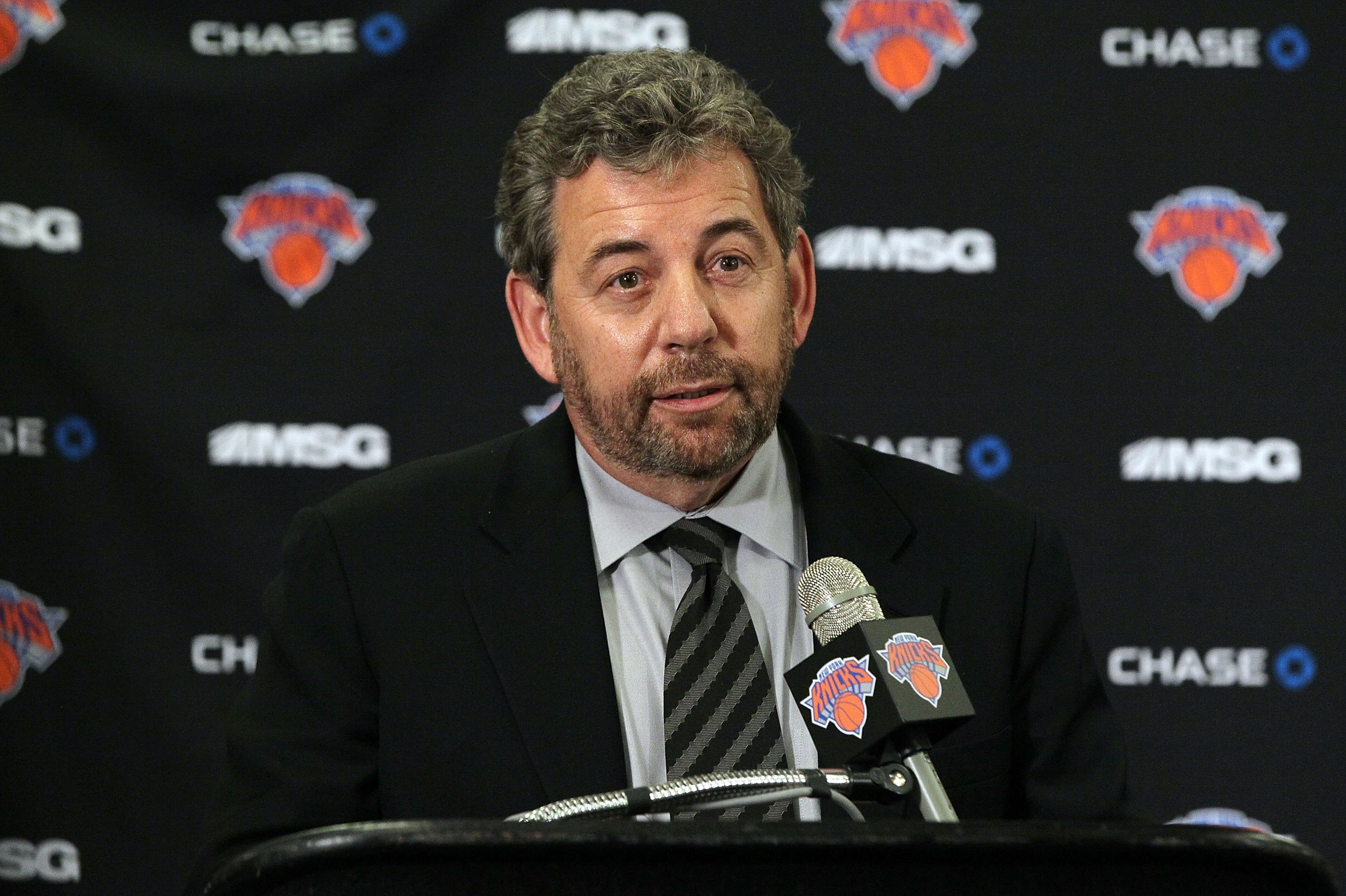 Executive Chairman of Madison Square Garden James L Dolan speaks to the media prior to the New York Knicks game against the Portland Trail Blazers on Wednesday, March 14 2012 at Madison Square Garden in New York.