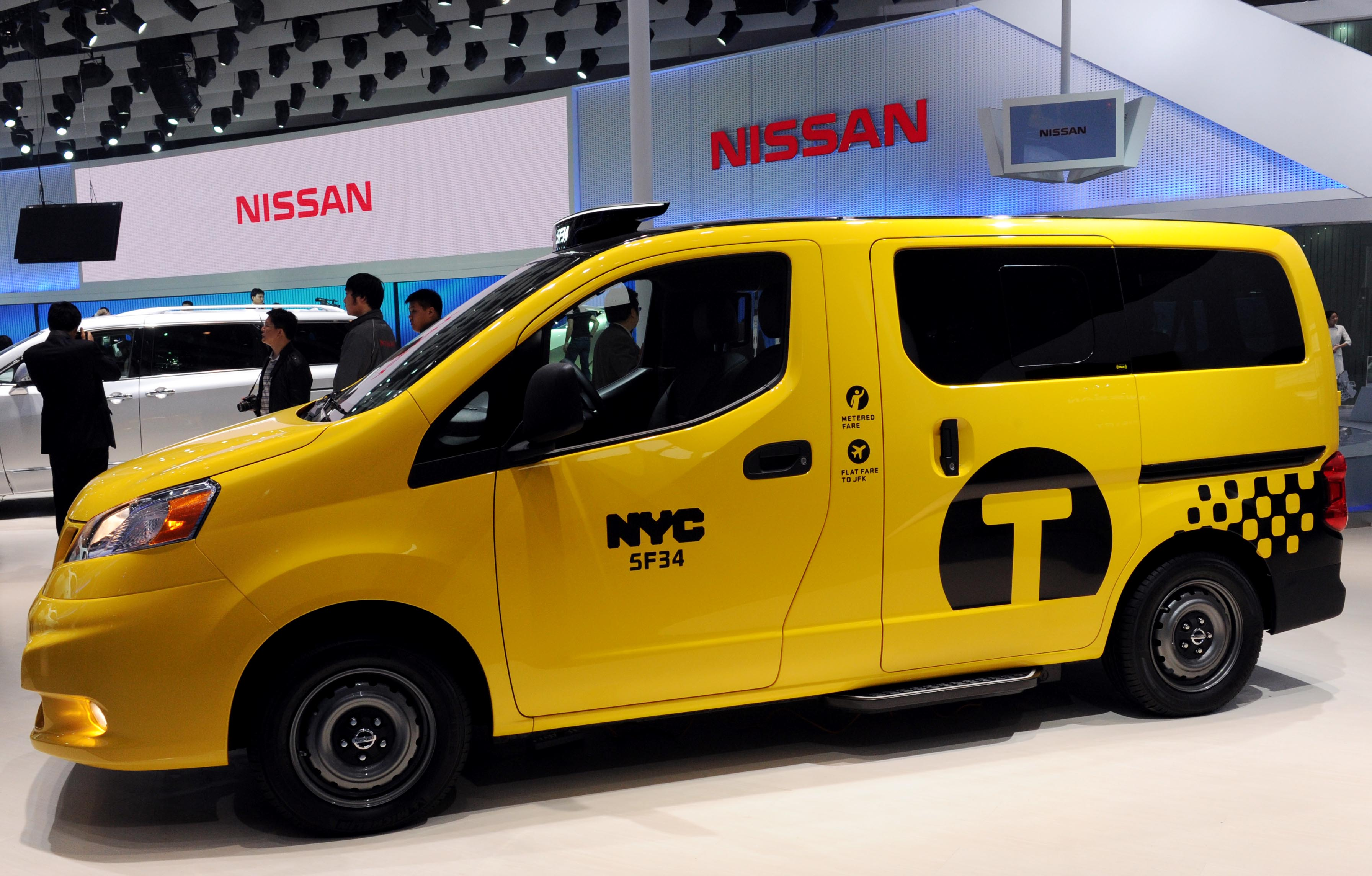 A Nissan NV200 vehicle is displayed during the 2012 Beijing International Automotive Exhibition at China International Exhibition Center on April 23, 2012 in Beijing, China.