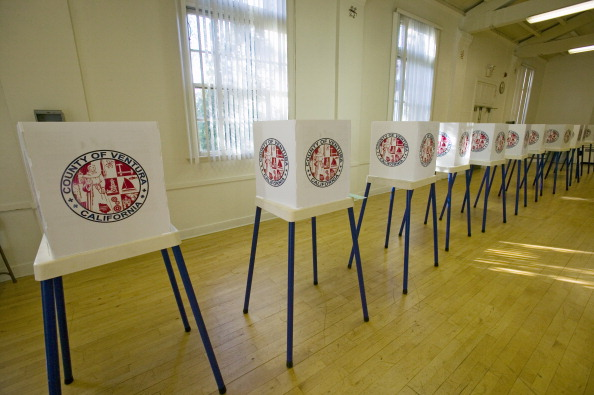 Voting stands for Congressional election, November 2006, in Ojai, Ventura County, California (Photo by Visions of America/UIG via Getty Images)
