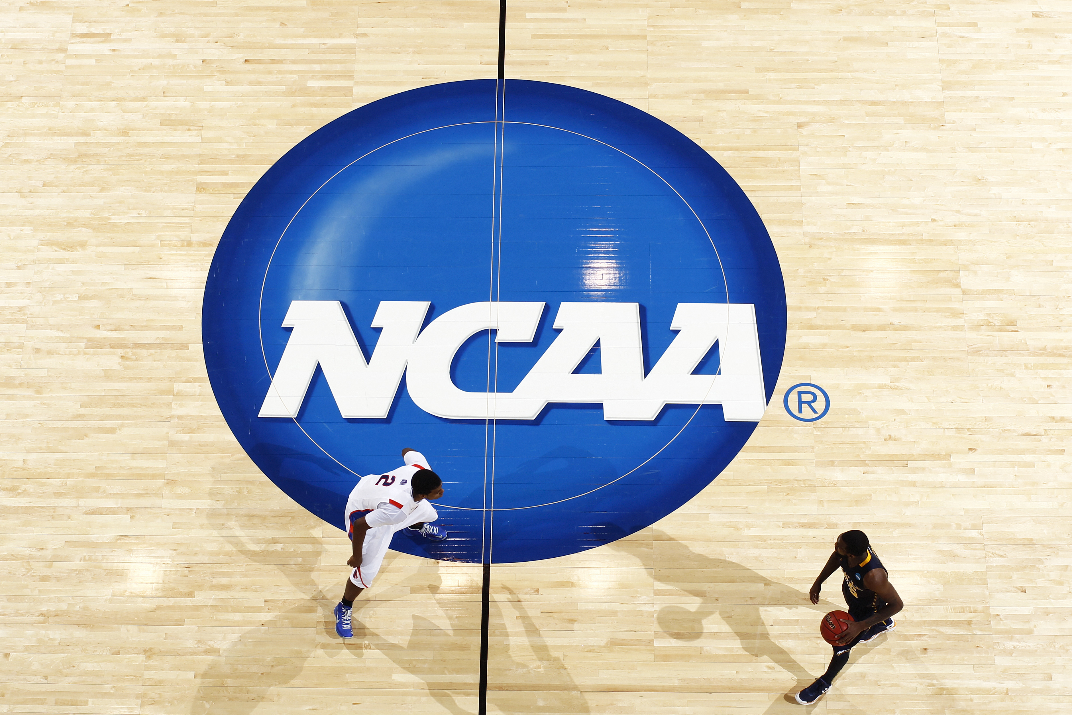 General view of the NCAA logo on the floor during action at University of Dayton Arena on March 20, 2013 in Dayton, Ohio.