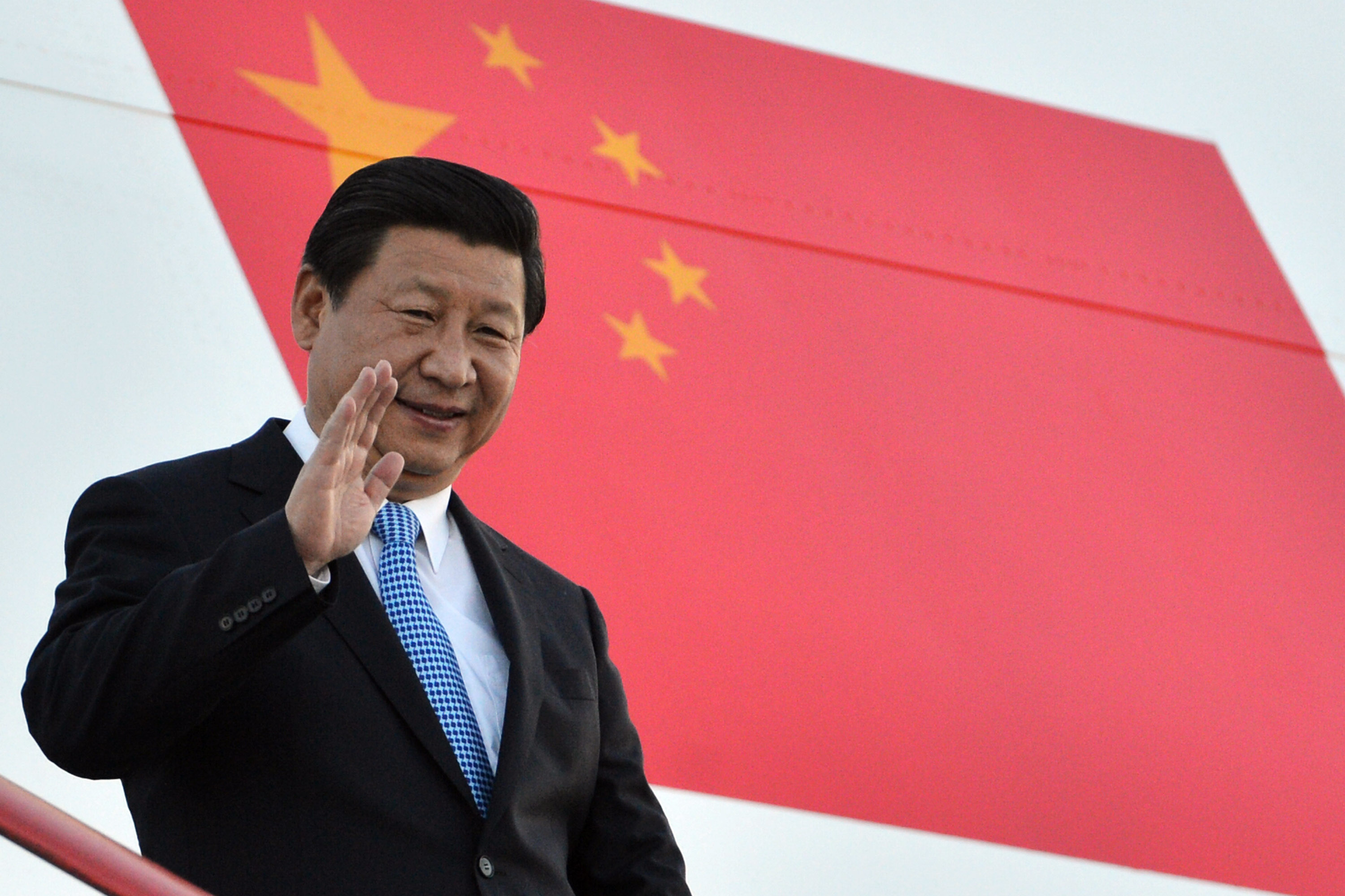 In this handout image provided by Ria Novosti, President of the People's Republic of China Xi Jinping arrives in Russia ahead of the G20 summit on September 4, 2013 in St. Petersburg, Russia.