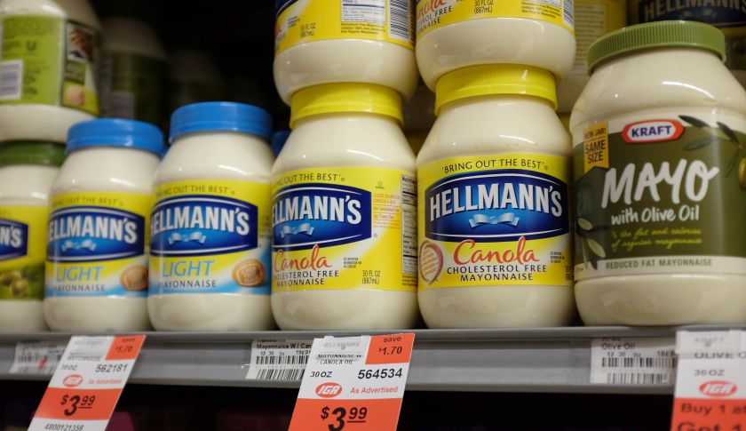 Jars of mayonnaise are seen in a store.