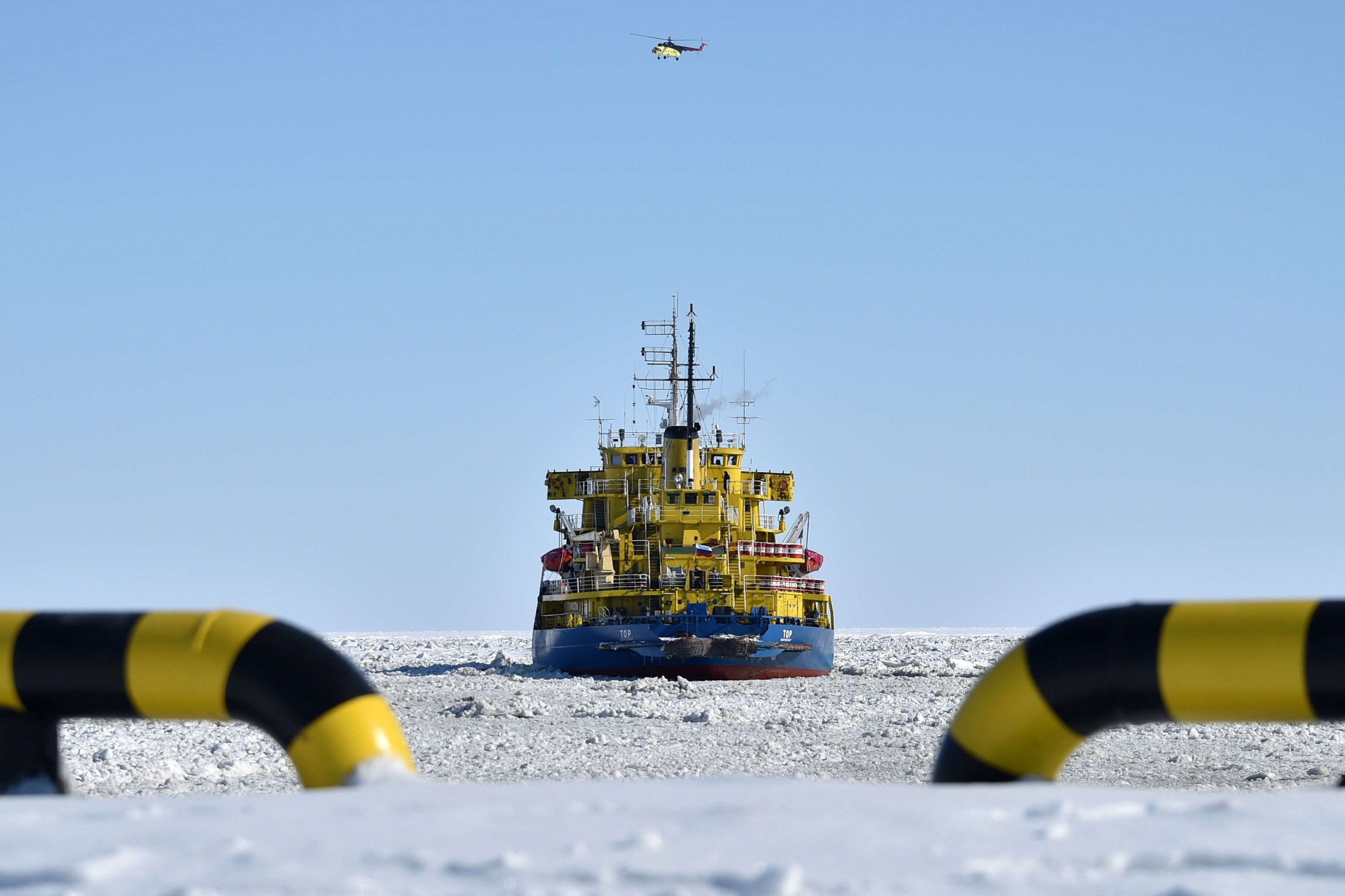 The icebreaker Tor at the port of Sabetta, in the Arctic circle, on April 16, 2015.