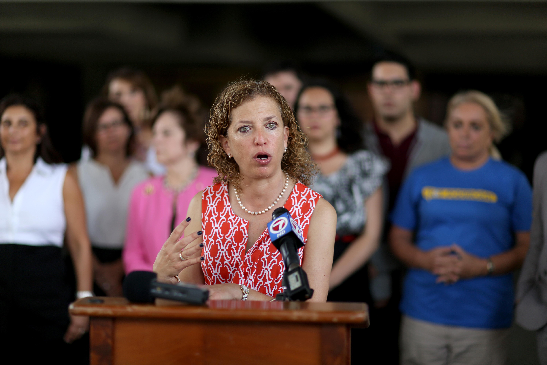DNC chair Debbie Wasserman Schultz on April 27, 2015 in Fort Lauderdale, Florida.