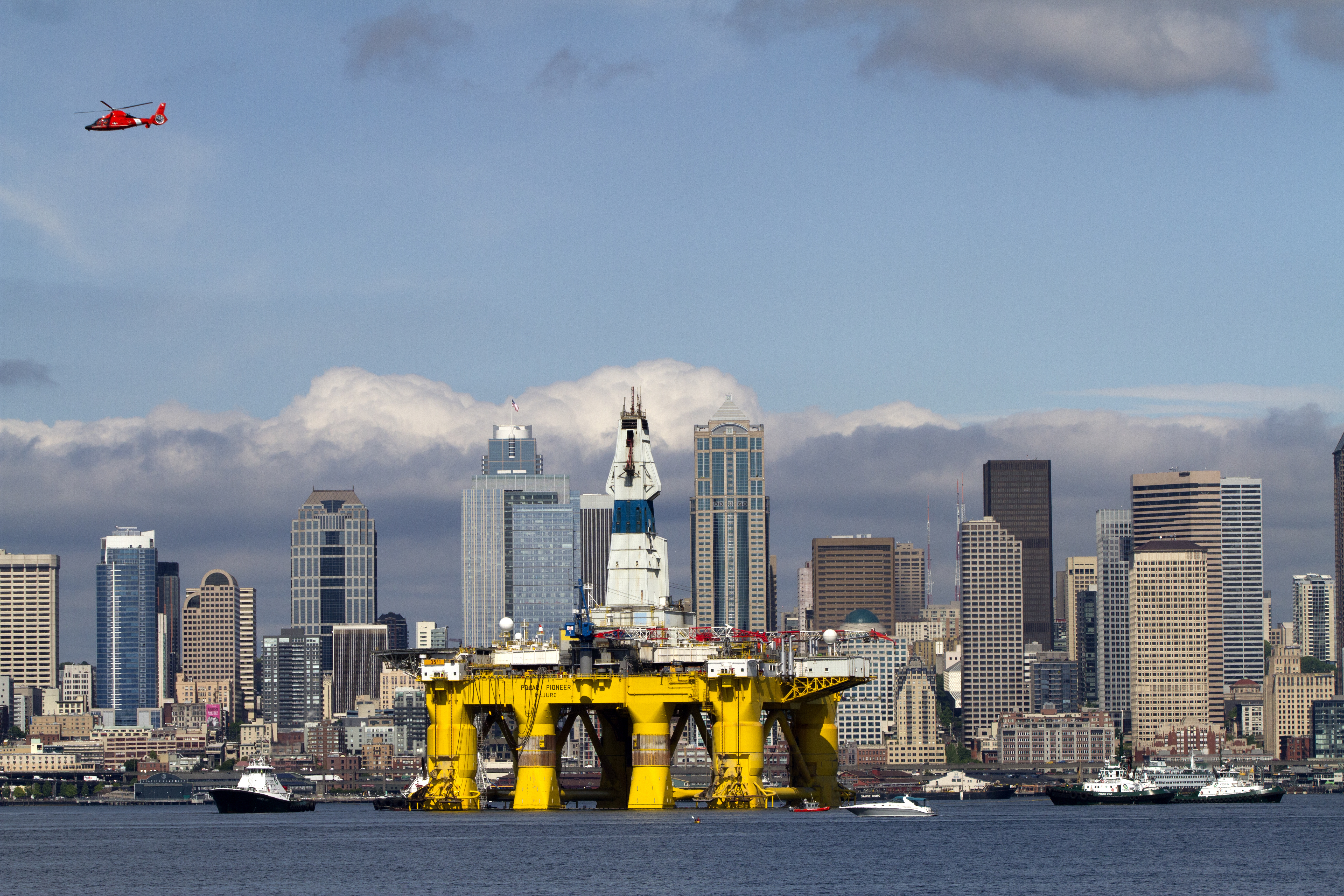 The Polar Pioneer, an oil drilling rig owned by Shell Oil, arrives on May 14, 2015 in Seattle, Washington. The rig is part of a fleet that will lead a controversial oil-exploration effort off Alaska's North Slope.
