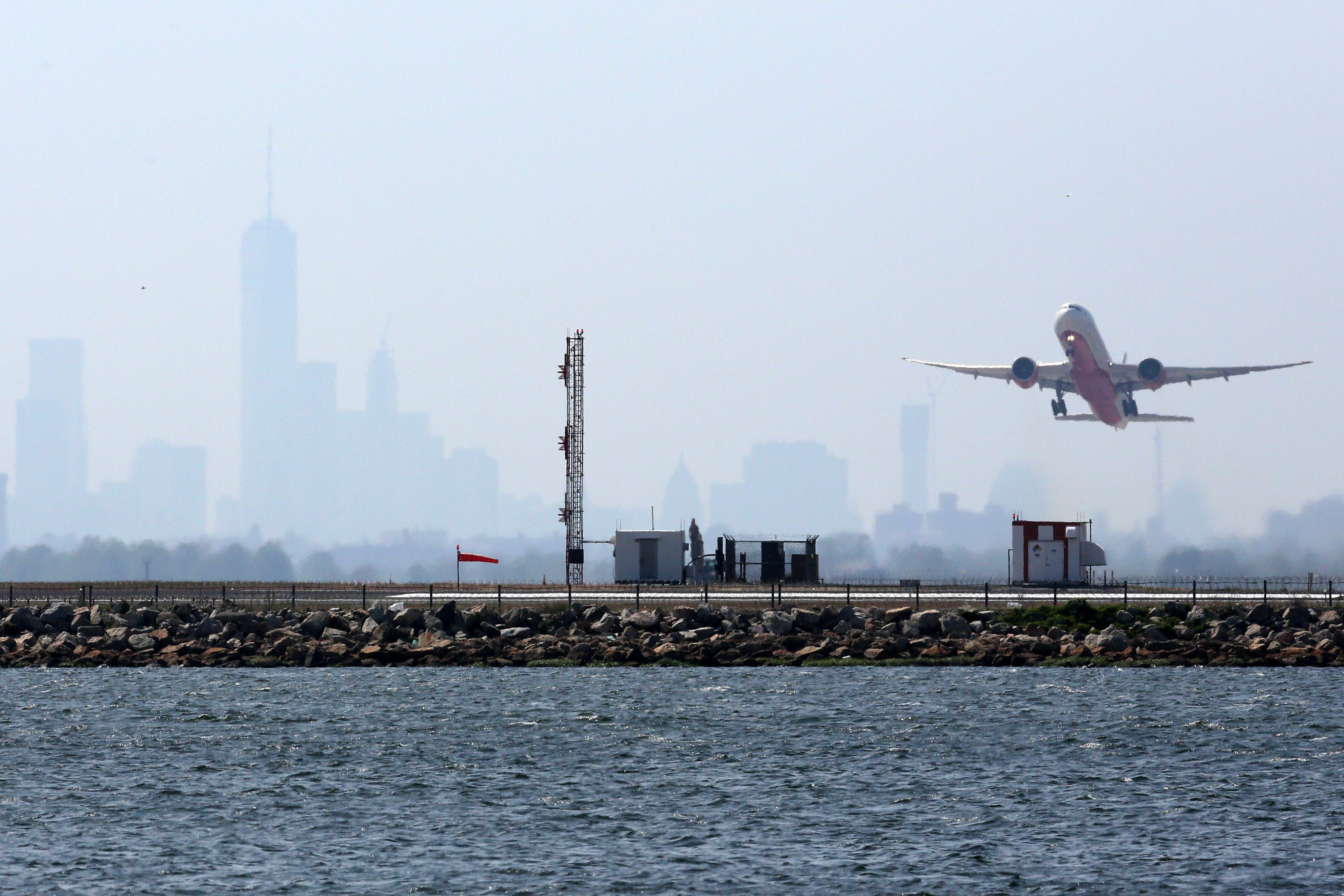 An aircraft takes off from New York's John F. Kennedy Airport on May 25, 2015.