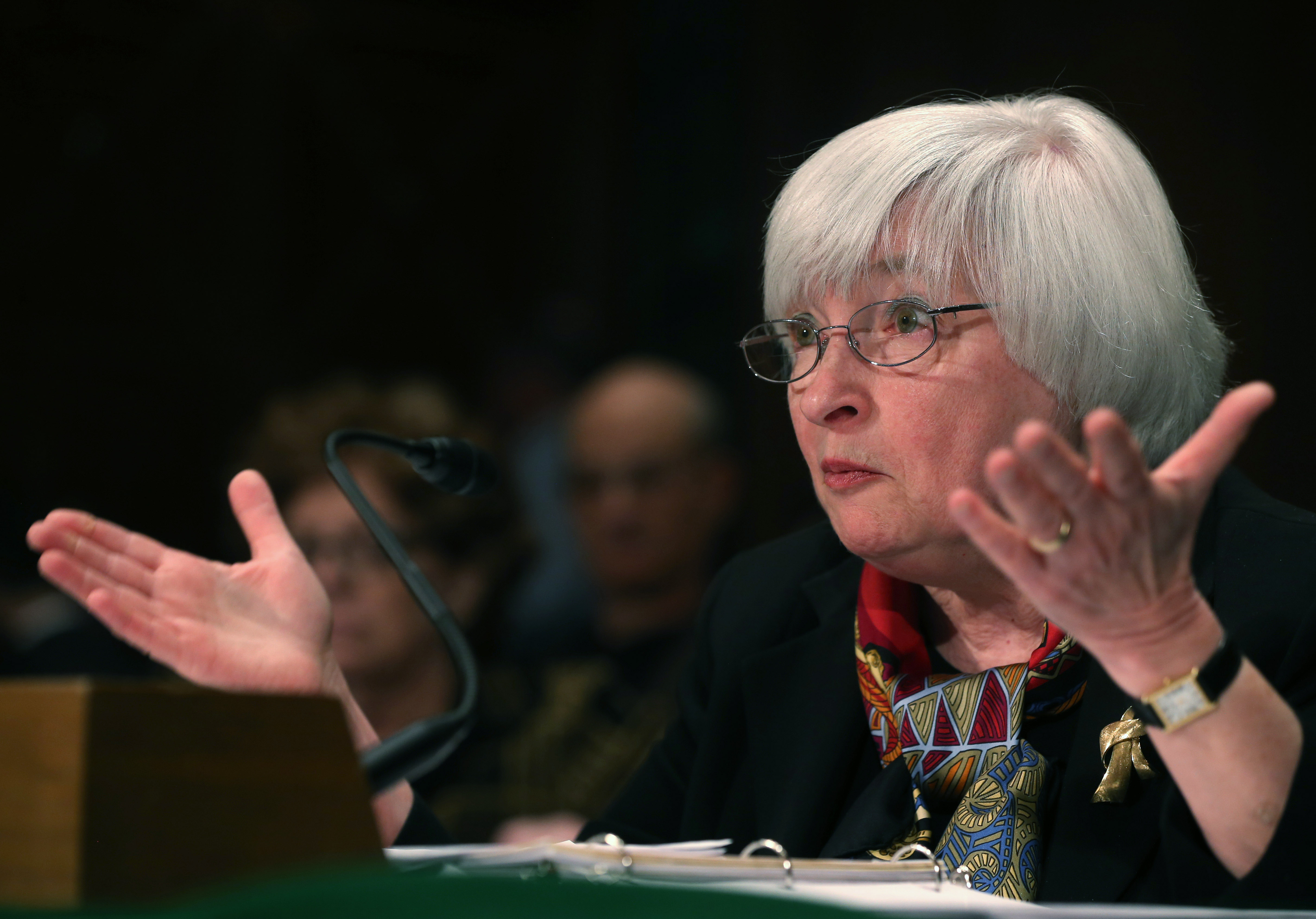 Federal Reserve Board Chairman Janet Yellen gestures as she testifies during a Senate Banking, Housing and Urban Affairs Committee hearing while delivering the Federal Reserves semiannual Monetary Policy Report on Capitol Hill, February 27, 2014 in Washington, D.C.