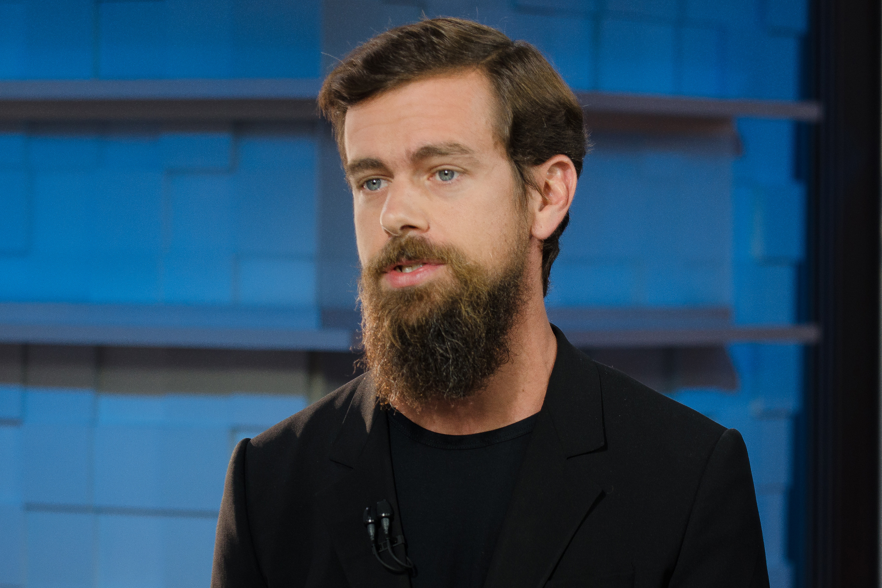 Jack Dorsey, co-founder of Twitter, and just-named interim CEO of Twitter, in an interview at CNBC's San Francicso bureau, on June 12, 2015.