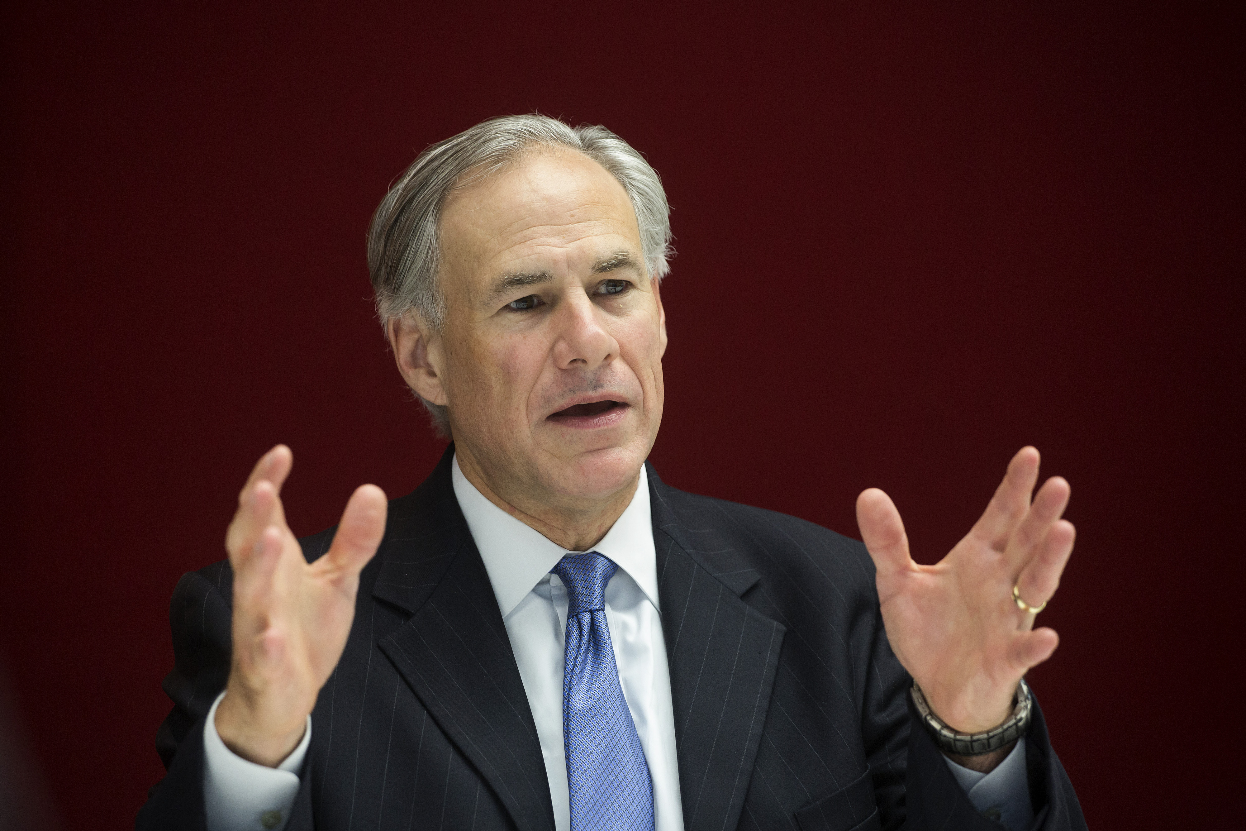 Greg Abbott, governor of Texas, speaks during an interview in New York, on  July 14, 2015.