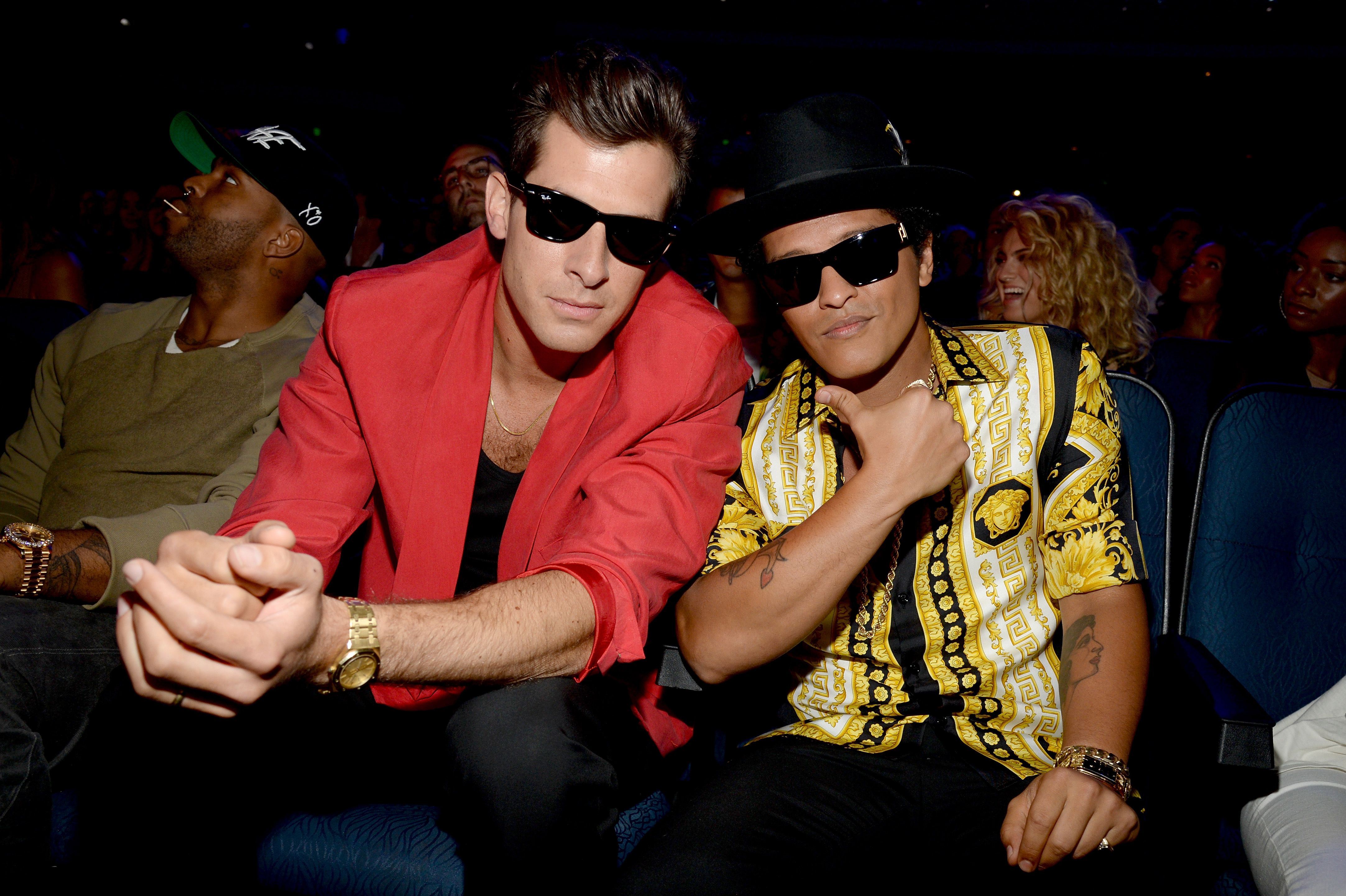 Mark Ronson and Bruno Mars attend the 2015 MTV Video Music Awards at Microsoft Theater in Los Angeles, Calif. on Aug.30, 2015.