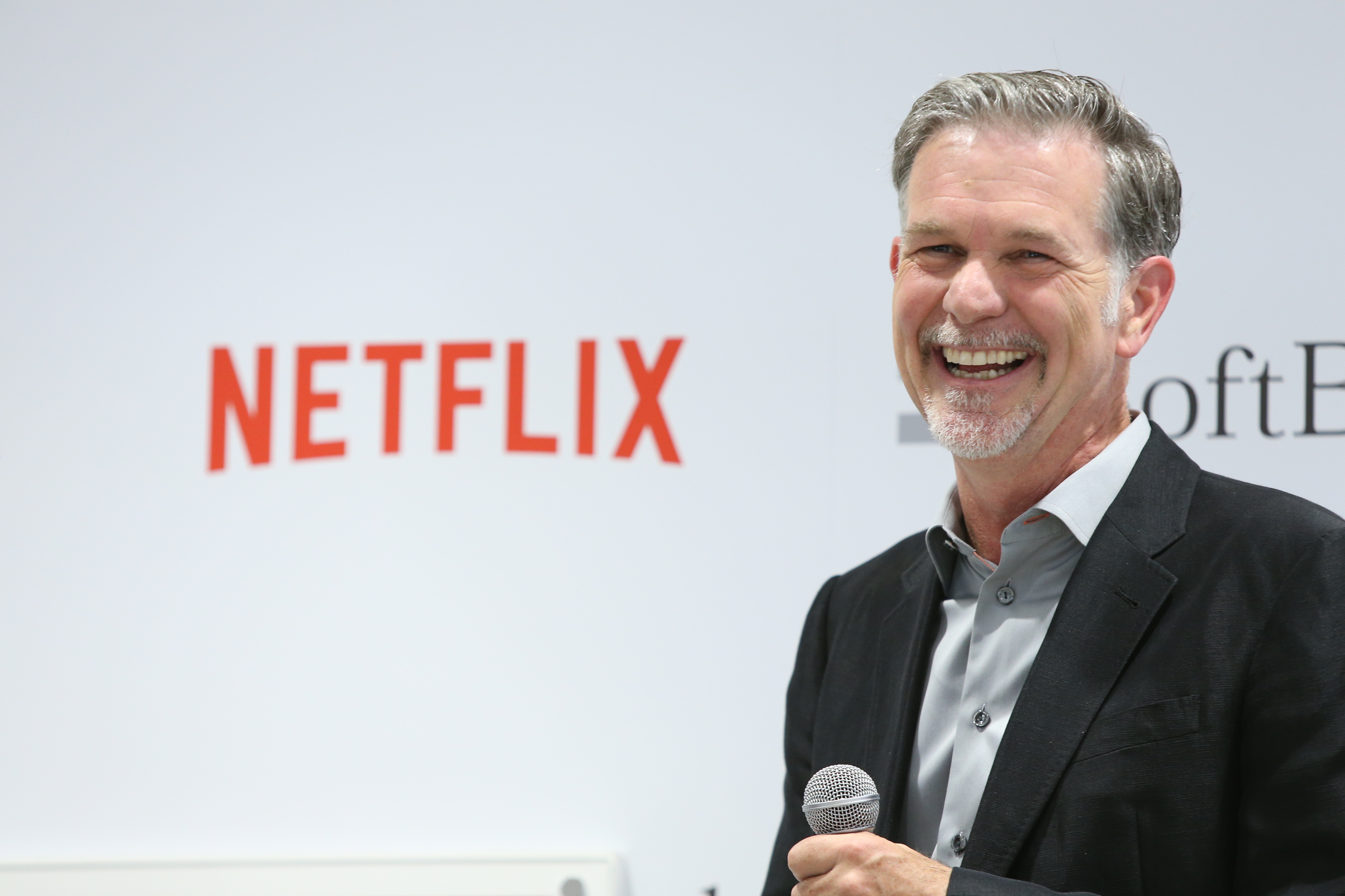 Reed Hastings, founder and CEO of Netflix Inc. attends the launch event for Netflix service in Japan at SoftBank Ginza store on September 2, 2015 in Tokyo, Japan.