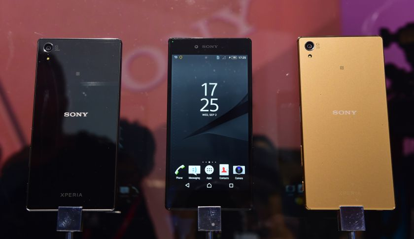 Newly released Sony Xperia Z5 smartphones.