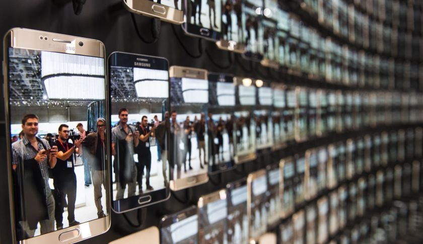 A wall of Samsung Galaxy smartphones.
