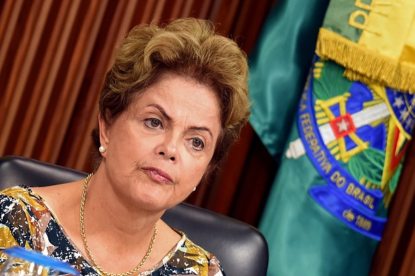 Brazilian President Dilma Rousseff gestures during a meeting with businessmen at Planalto Palace in Brasilia, on Sept. 10, 2015