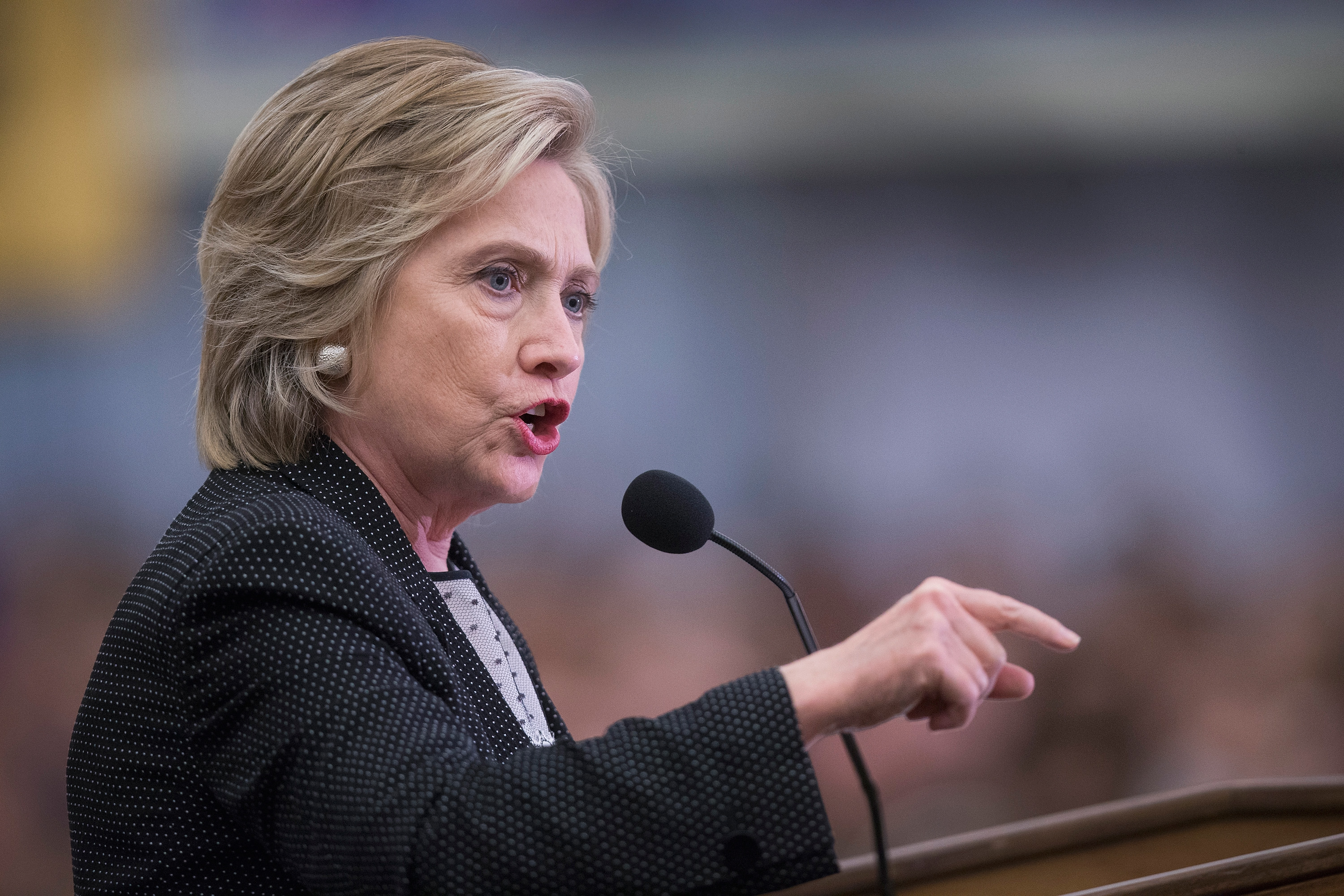 Democratic presidential candidate Hillary Clinton speaks to guests gathered for a campaign event at the University of Wisconsin-Milwaukee on Sept. 10, 2015 in Milwaukee, Wisconsin.
