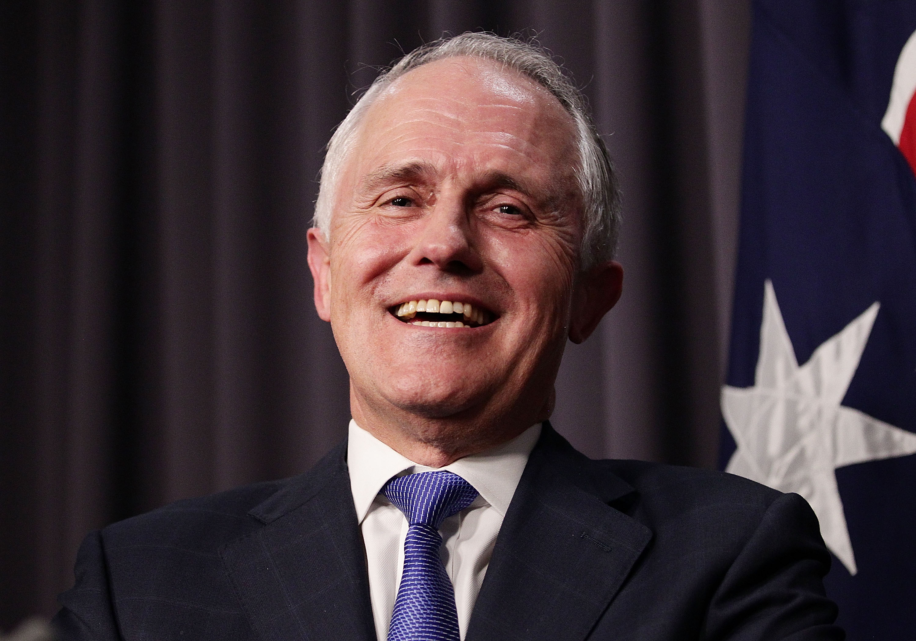 Malcolm Turnbull speaks to the media after winning the leadership ballot at Parliament House in Canberra on Sept. 14, 2015