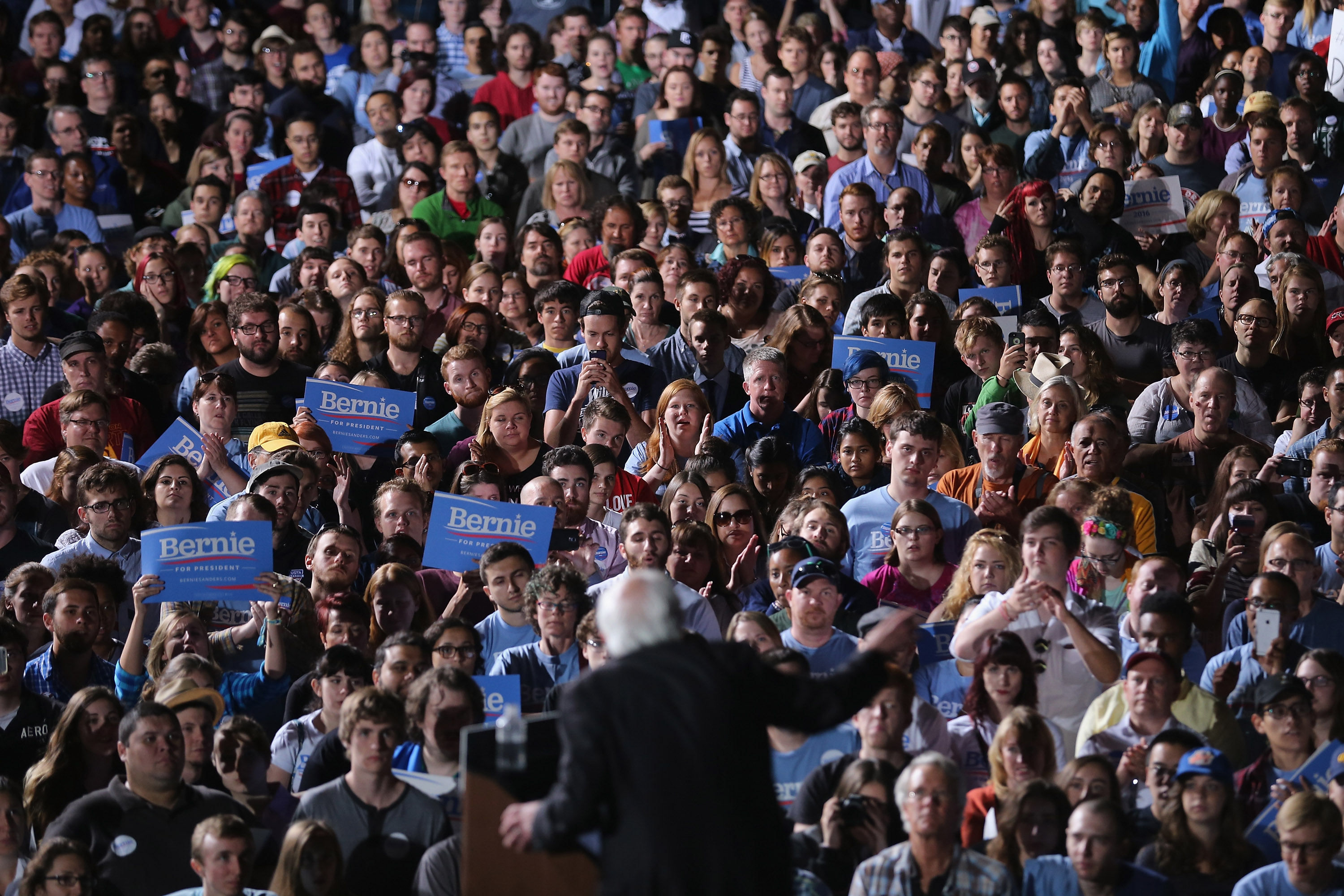 Thousands of people gather to hear Democratic presidential candidate Sen. Bernie Sanders (I-VT) during a campaign rally at the Prince William County Fairground September 14, 2015 in Manassas, Virginia.