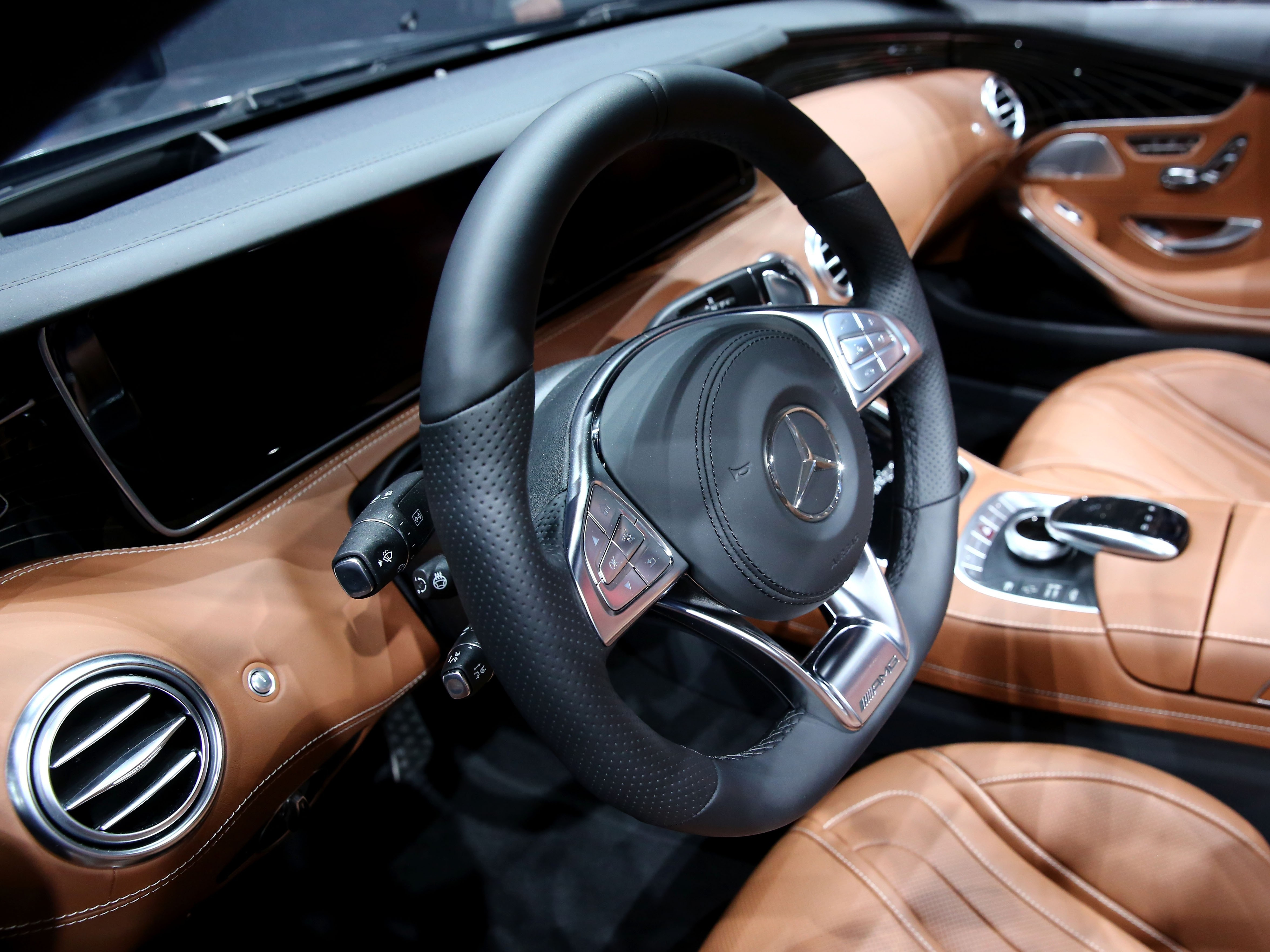 An inside view of the Mercedes-Benz AG F015 concept car during a Daimler event ahead of the IAA Frankfurt Motor Show in Frankfurt, Germany on September 15, 2015.