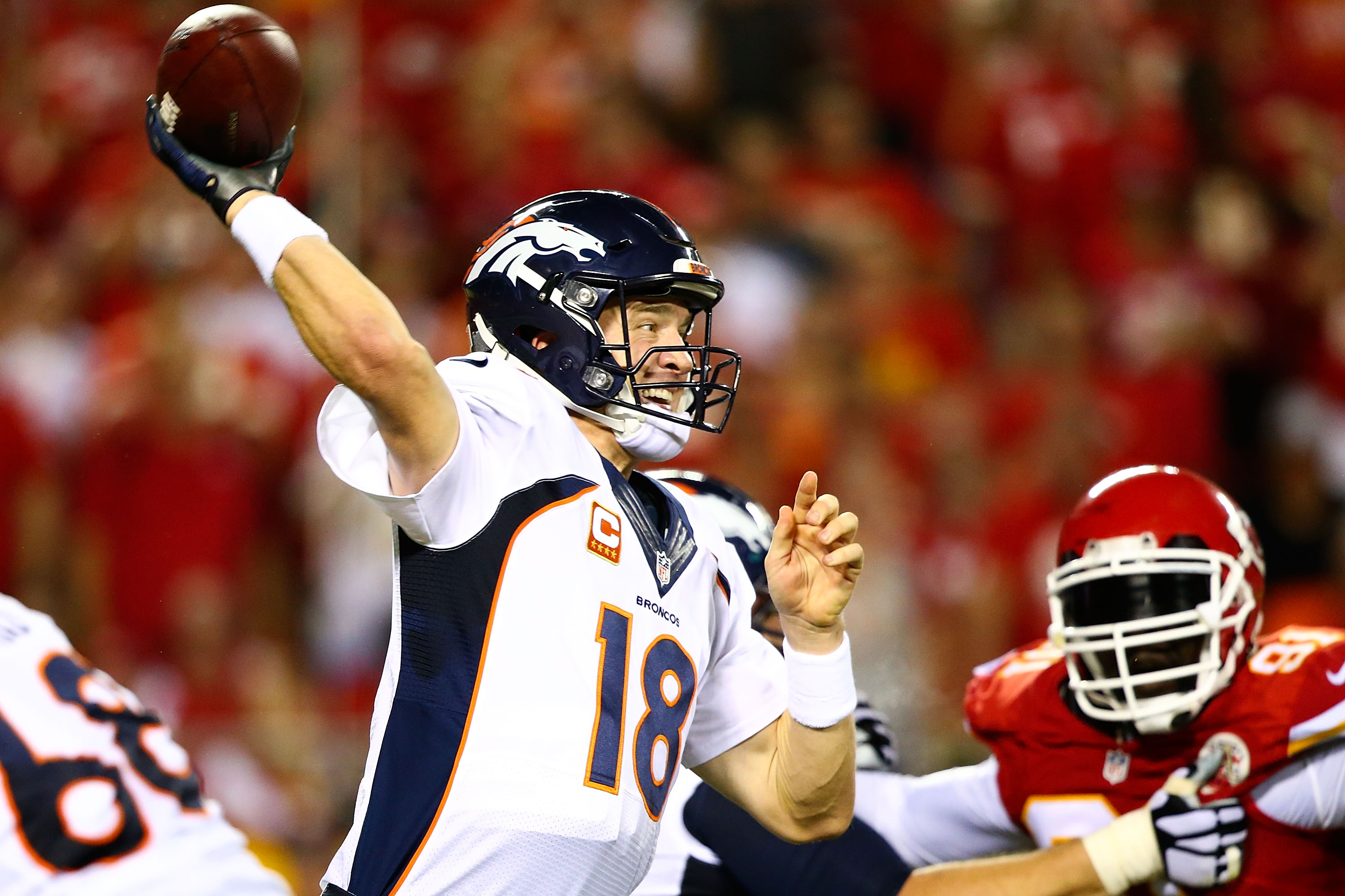 Peyton Manning #18 of the Denver Broncos throws a pass during the game against the Kansas City Chiefs at Arrowhead Stadium on Sept. 17, 2015 in Kansas City, Missouri