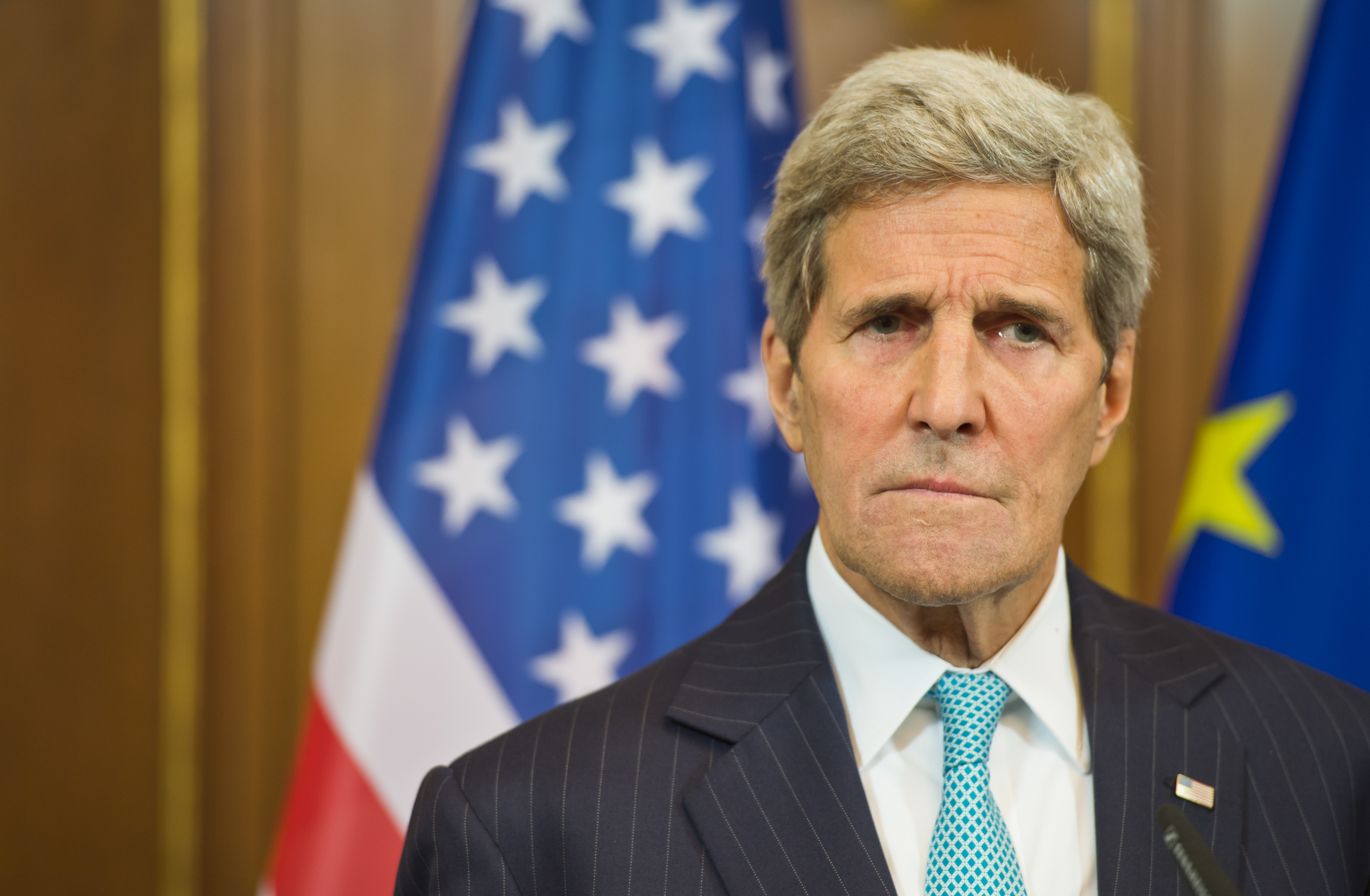U.S. Secretary of State John Kerry attends a press conference in Villa Borsig on Sept. 20, 2015 in Berlin, Germany