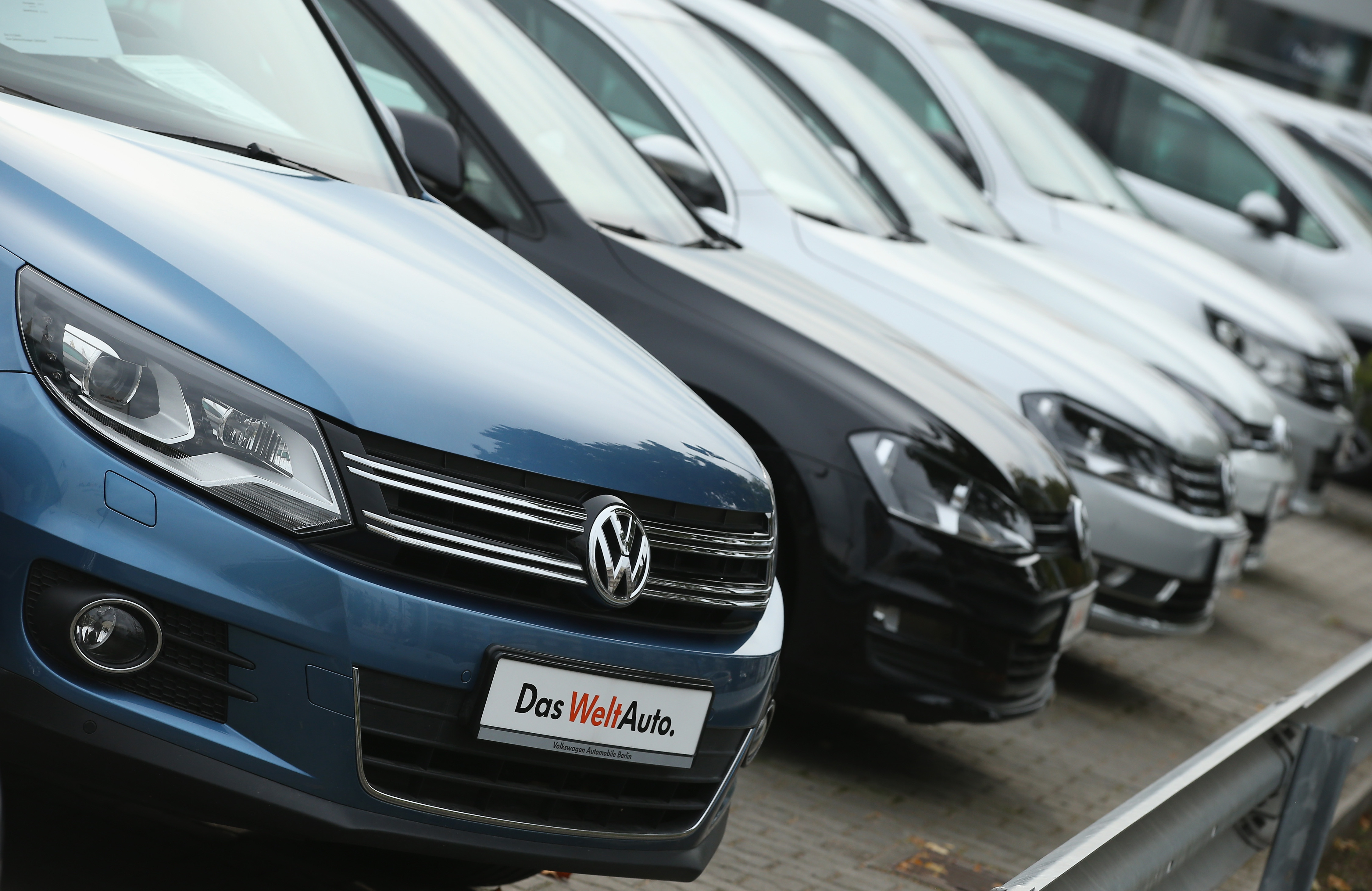 Used cars of German carmaker Volkswagen stand on display at a Volkswagen car dealership on September 22, 2015 in Berlin, Germany.