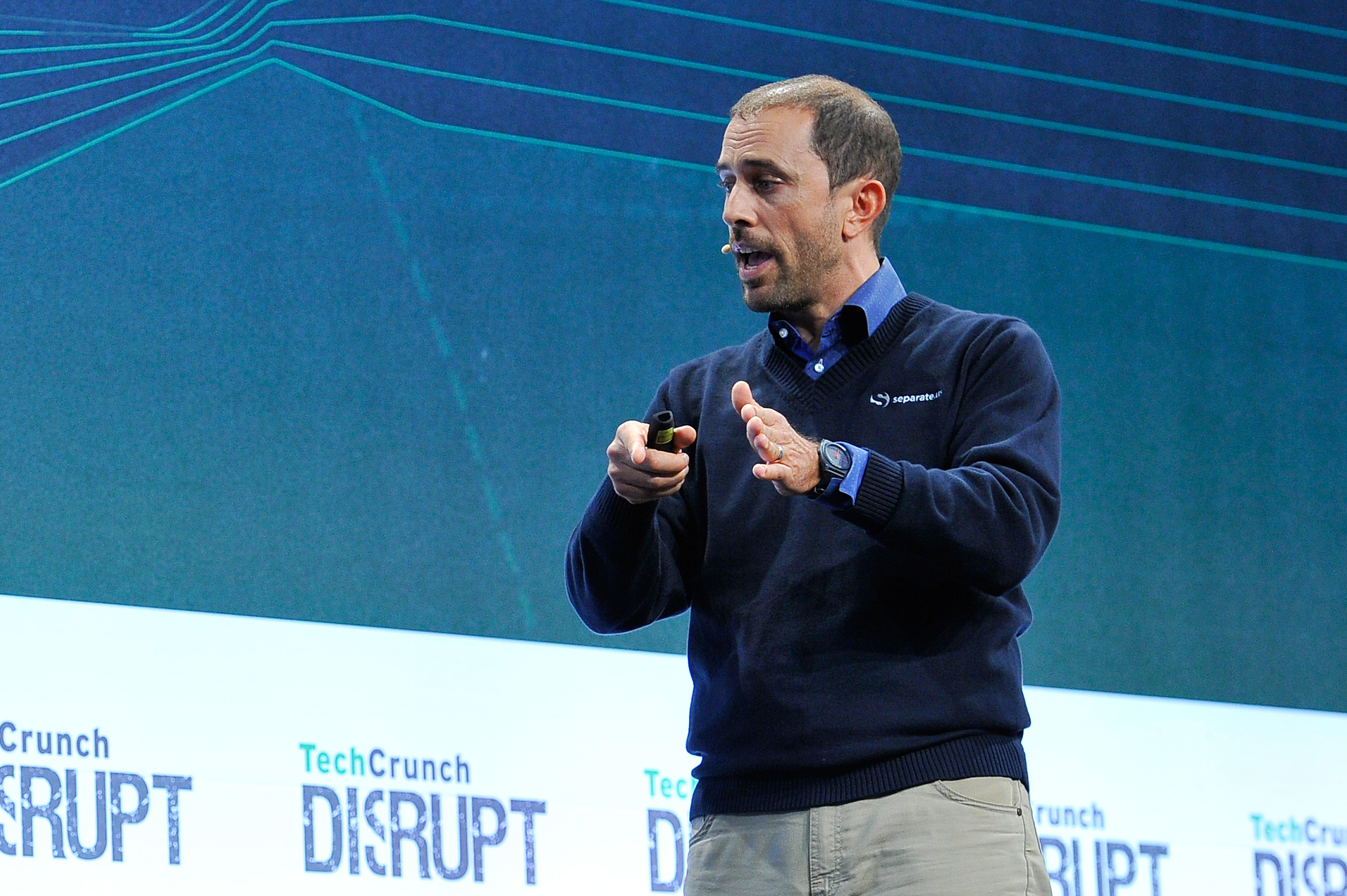 The group from separate.us presents to the judges onstage at TechCrunch Disrupt SF 2015 on Sept. 22, 2015 in San Francisco, Calif.