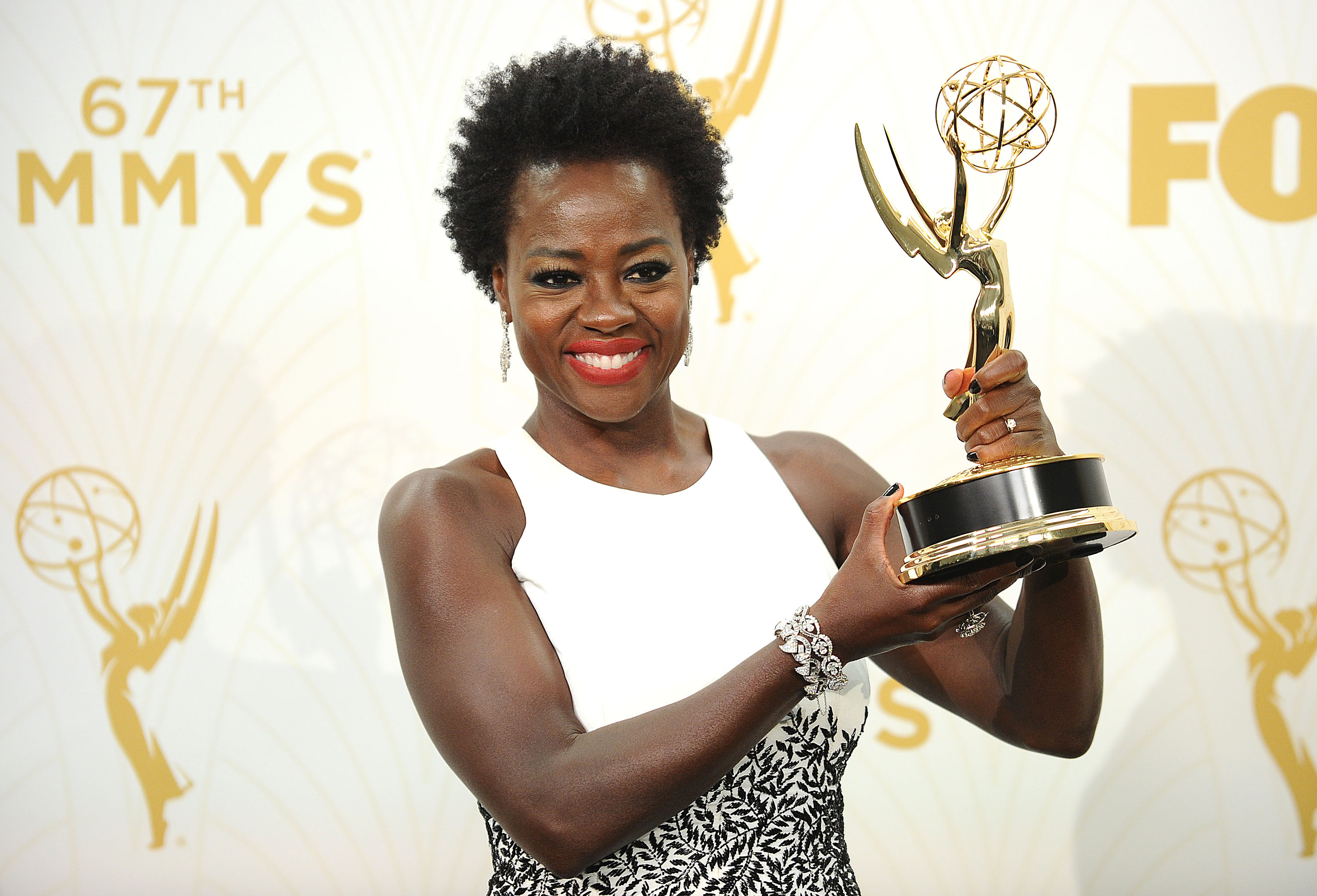 LOS ANGELES, CA - SEPTEMBER 20:  Actress Viola Davis poses in the press room at the 67th annual Primetime Emmy Awards at Microsoft Theater on September 20, 2015 in Los Angeles, California.  (Photo by Jason LaVeris/FilmMagic)