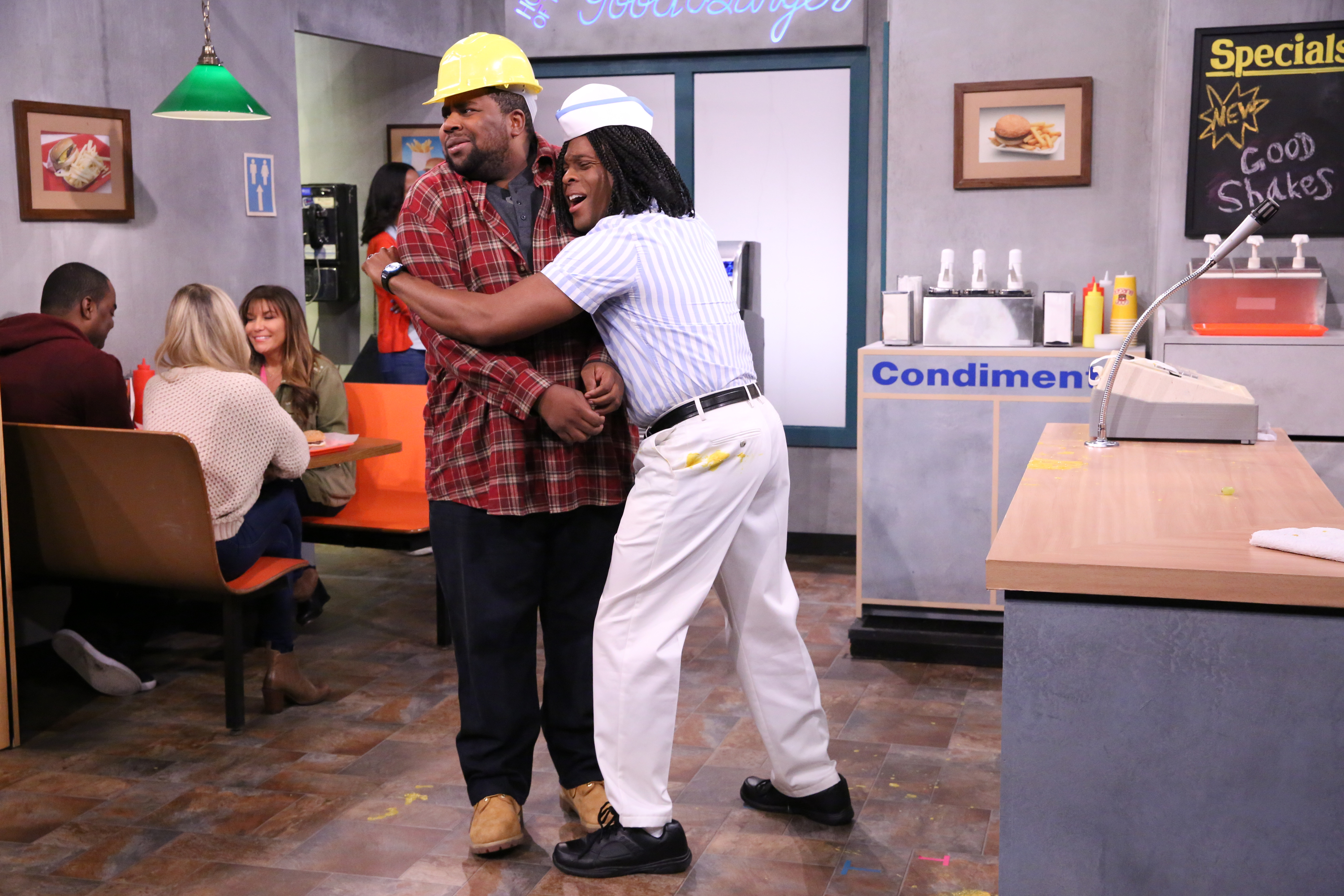 Kenan Thompson and Kel Mitchell during the  Good Burger  skit on The Tonight Show on September 23, 2015